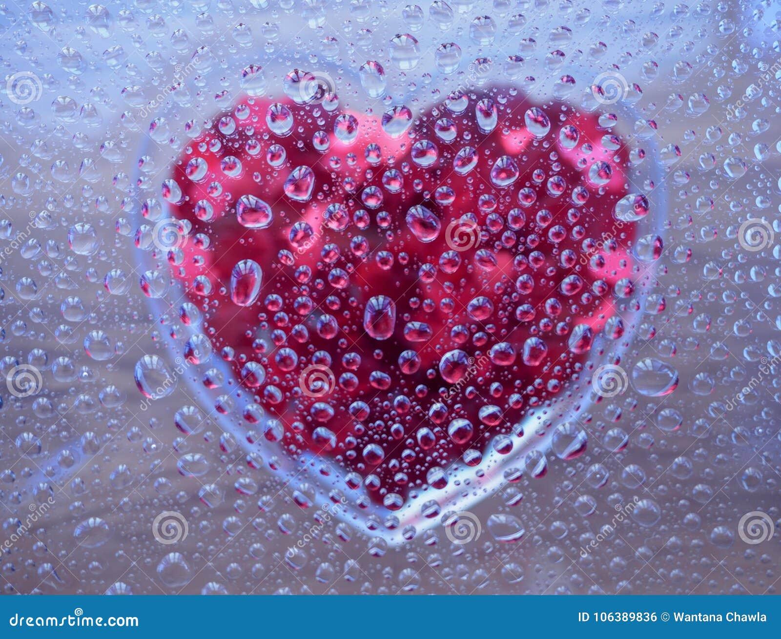 Gotas de água com coração embaixo