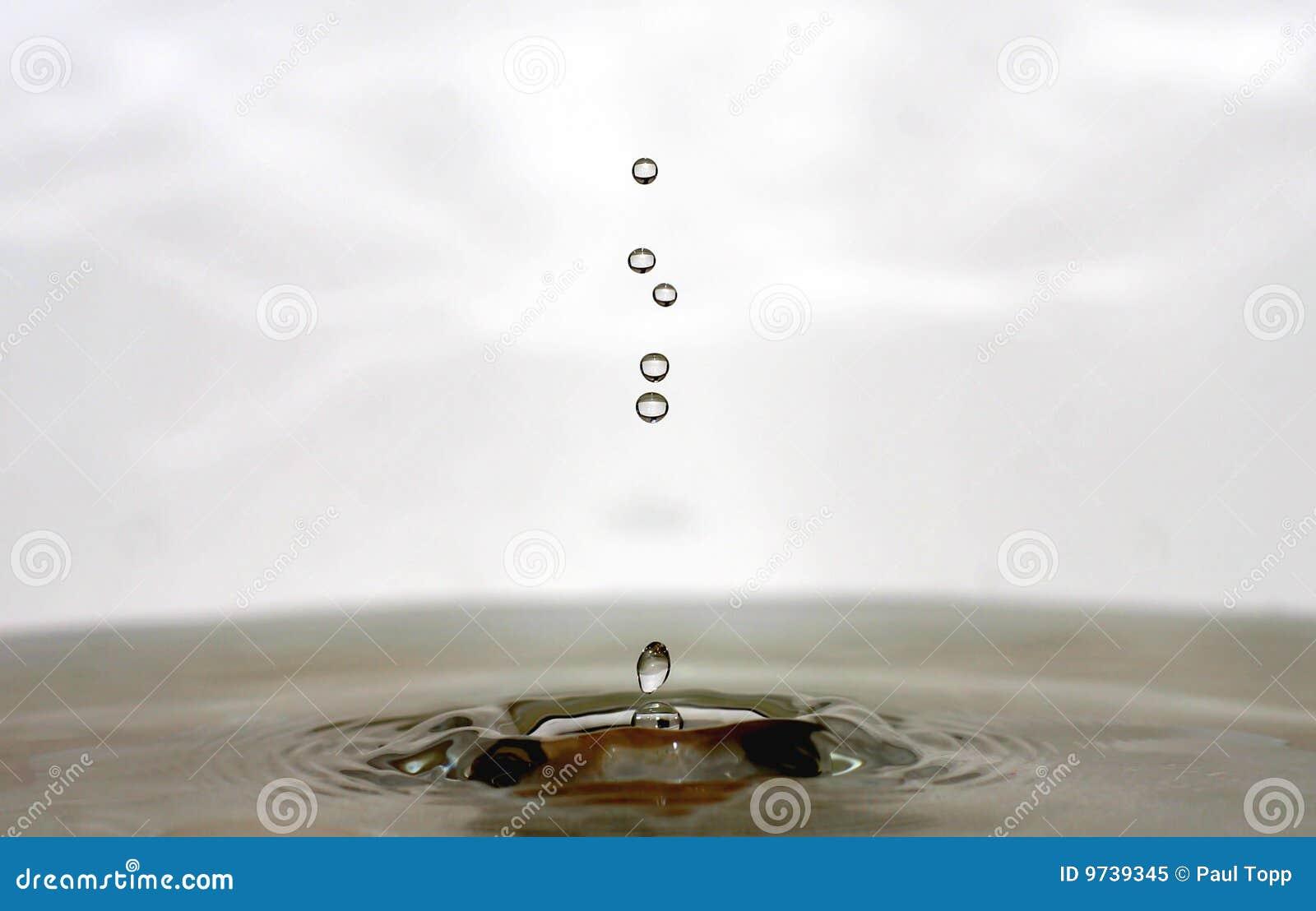 Gotas do gotejamento da água