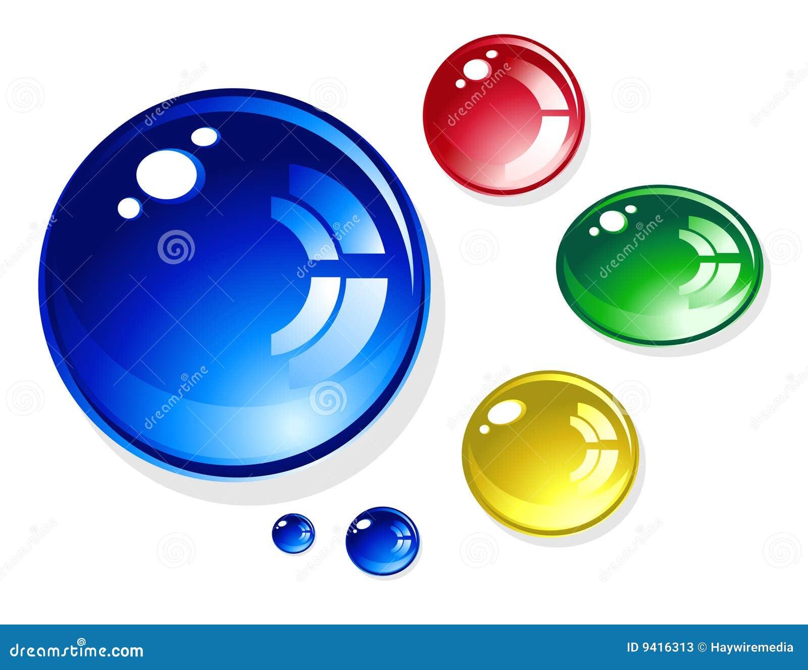 Gotas redondas brillantes coloridas del agua en blanco for Imagenes de piletas redondas