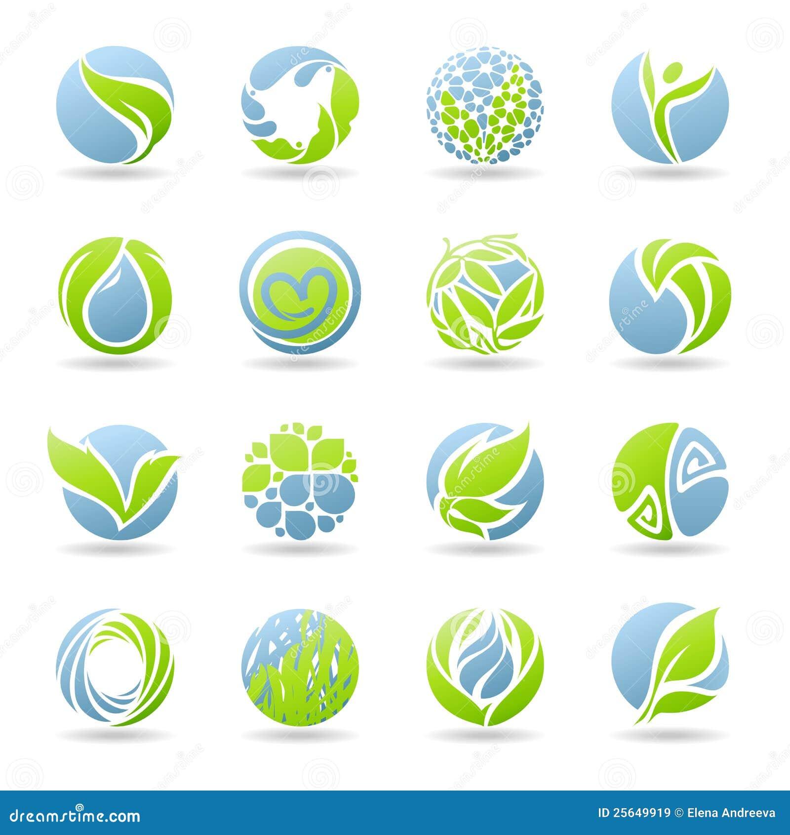 Gotas y hojas. Conjunto del modelo de la insignia del vector.