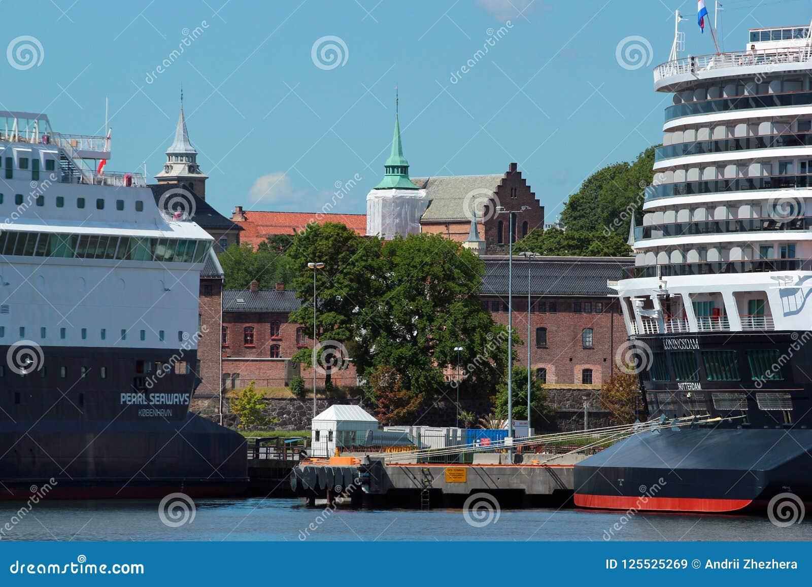 Gotee los barcos de cruceros de las vías marítimas y de Koningsdam en Oslo, Noruega