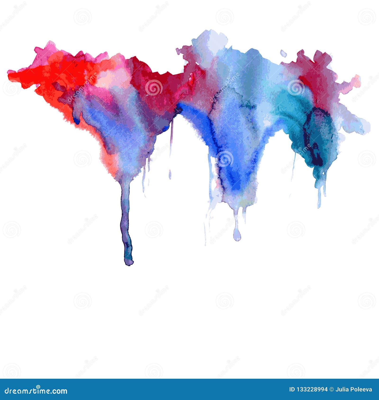 Gotejamentos azul-vermelhos da mancha da aquarela brilhante Ilustração abstrata em um fundo branco Vetor