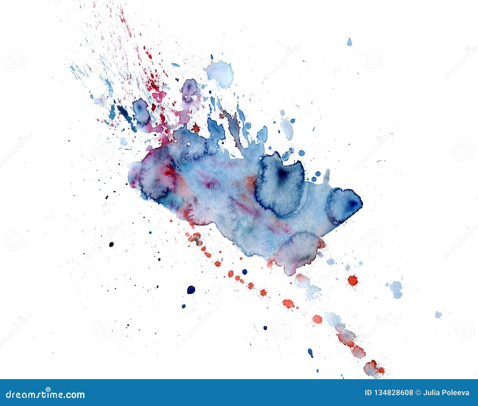 Gotejamentos cor-de-rosa e azuis da aquarela brilhante da mancha Ilustração abstrata em um fundo branco
