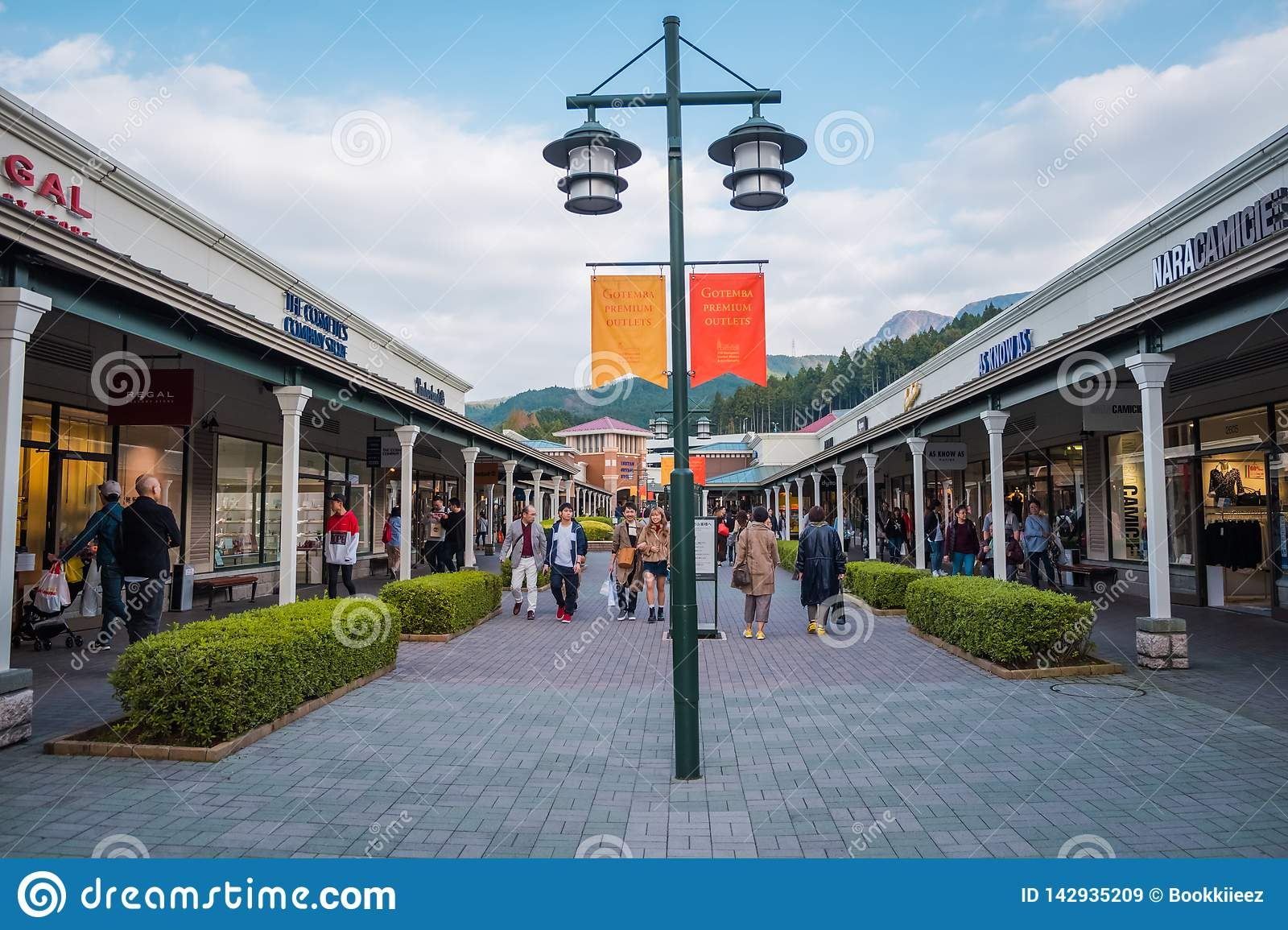 0754806ce9be67 Tourists visit and shopping at Gotemba Premium Outlets. This is an outlet  mall located in Gotemba, Shizuoka, Japan, near Mount Fuji.