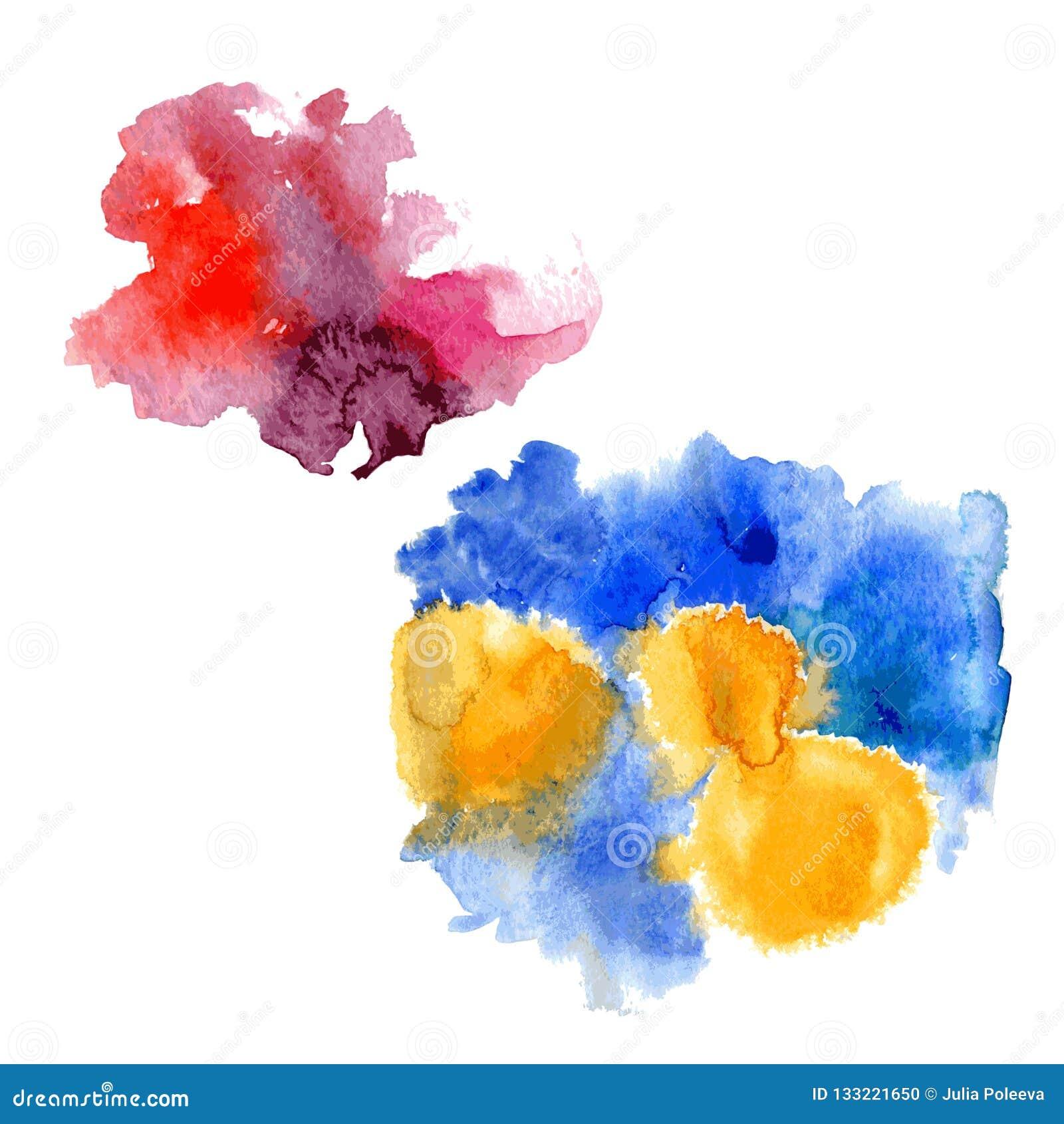 Goteos rosados de la mancha de la acuarela brillante y chapoteo amarillo azul de la acuarela en el fondo blanco Vector