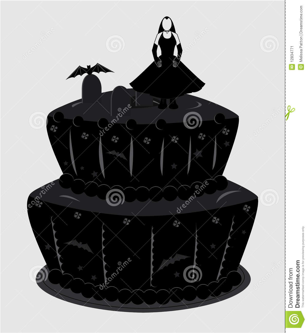 Sensational Goth Cake Stock Vector Illustration Of Female Decorated 12834771 Funny Birthday Cards Online Aeocydamsfinfo