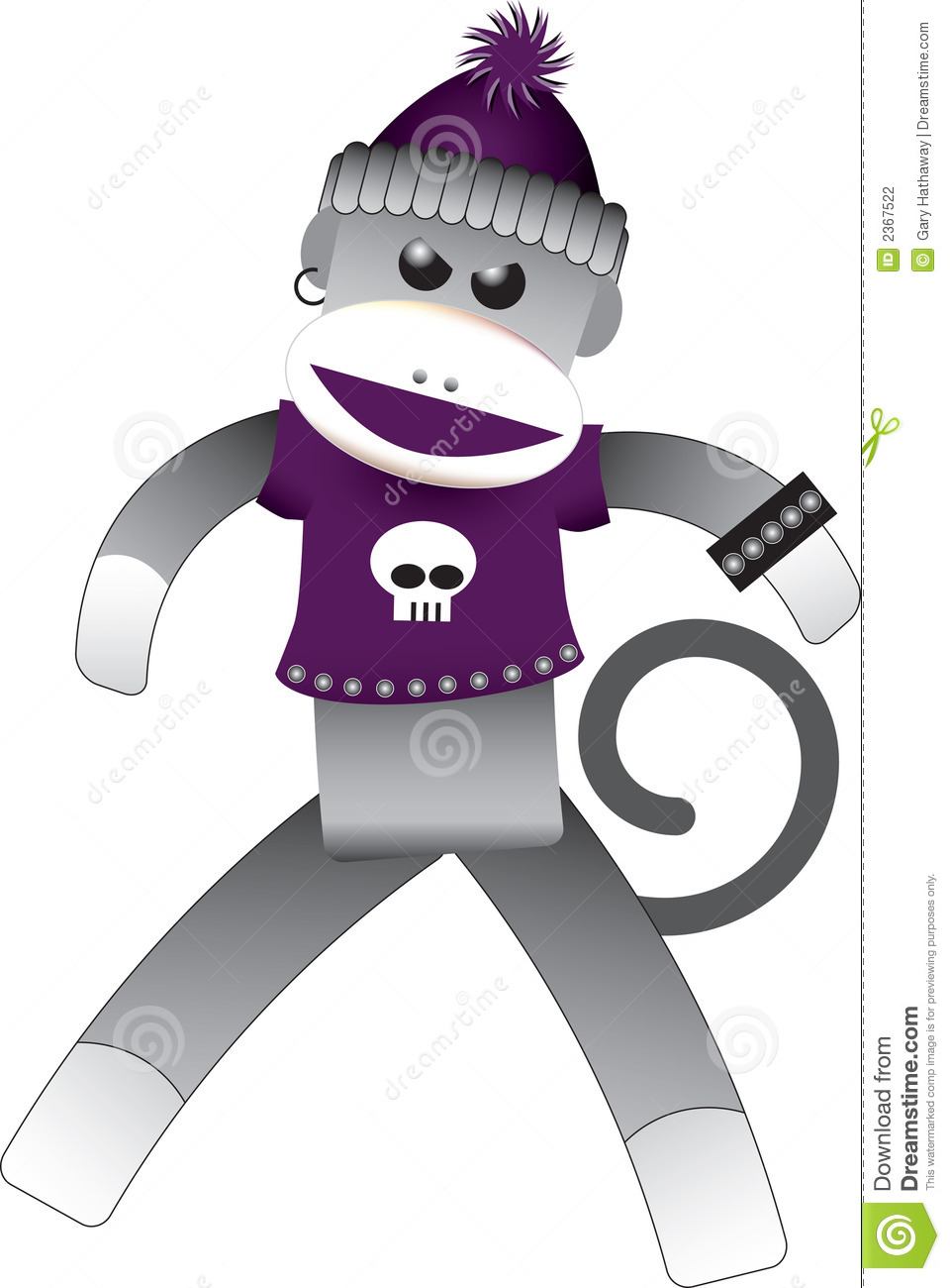 Punk sock monkey wearing a purple t-shirt with a skull, an earring and ...