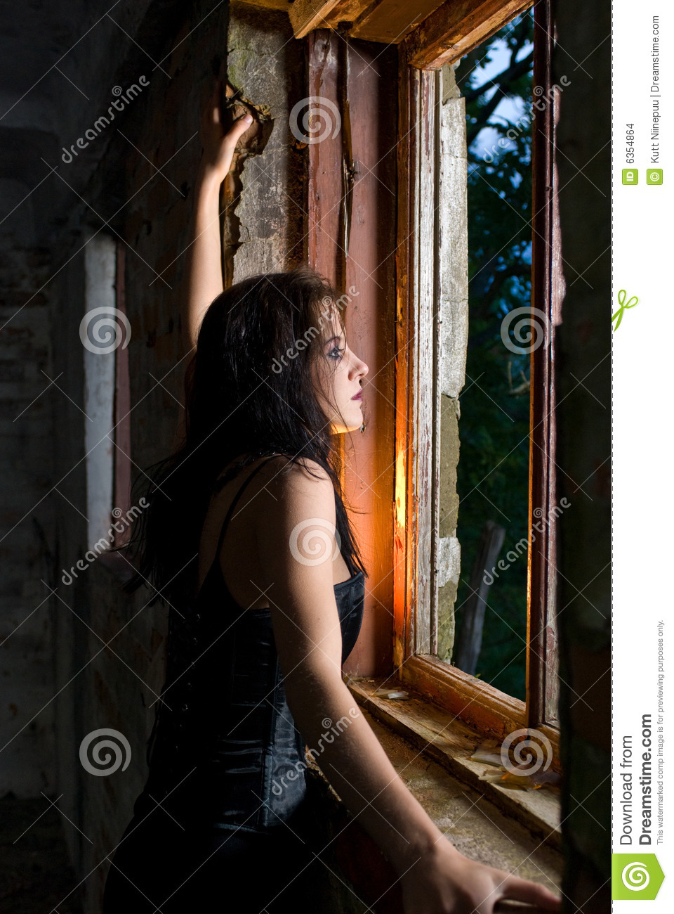 Goth Woman Looking Out Window Stock Photo - Image of ...