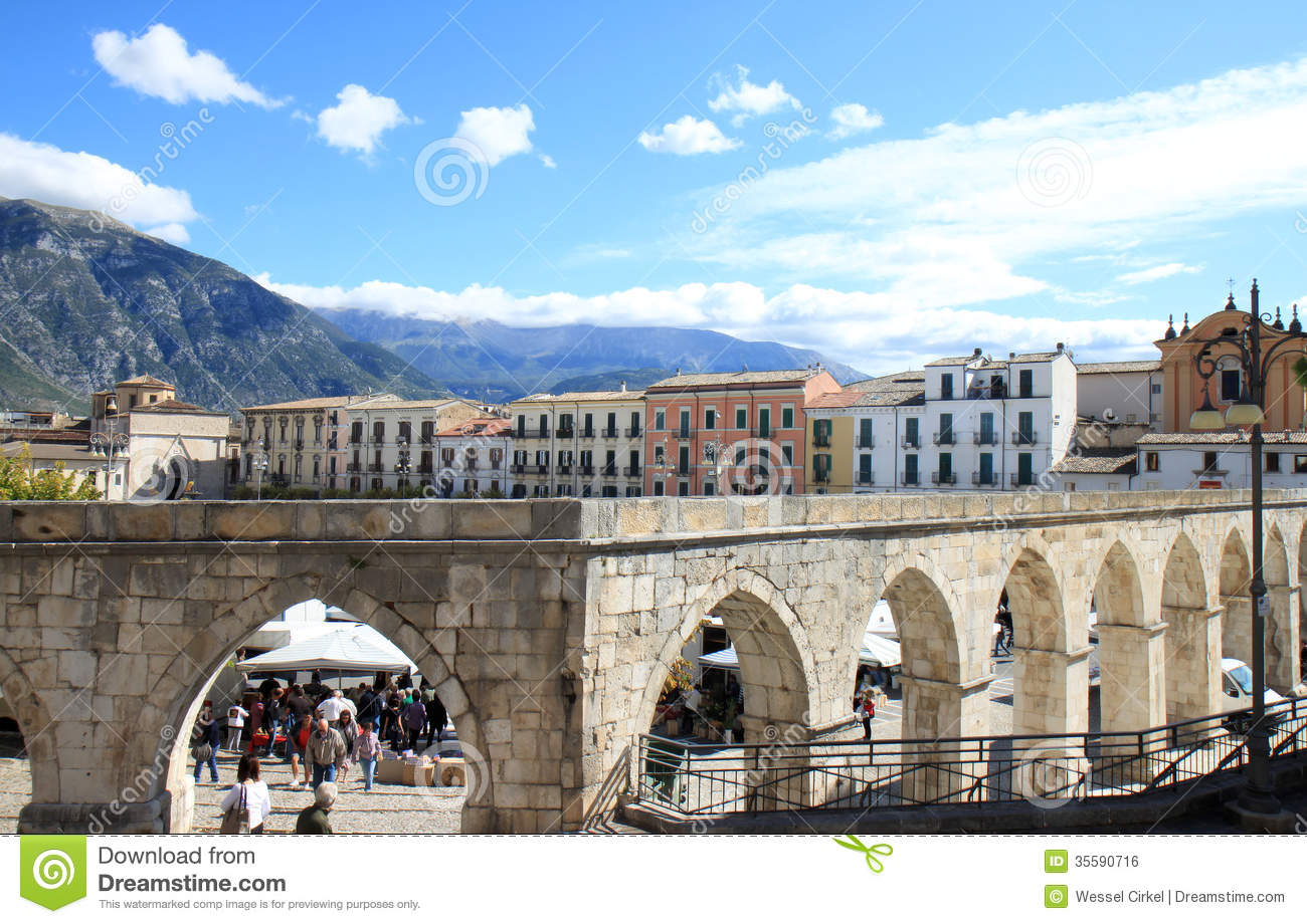 Gothic Aqueduct In Sulmona Town Italy Editorial Photo