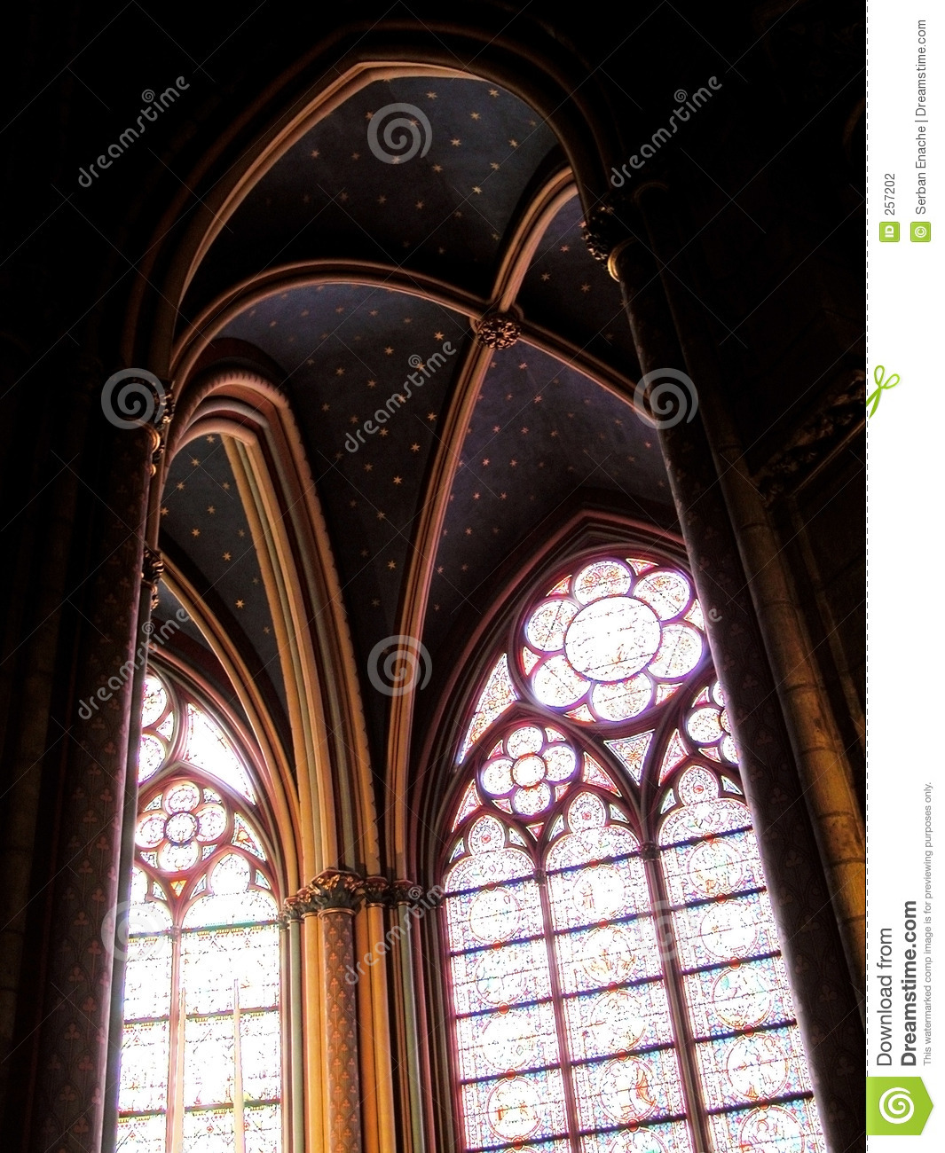 Gothic arches in the church of notre dame in paris france