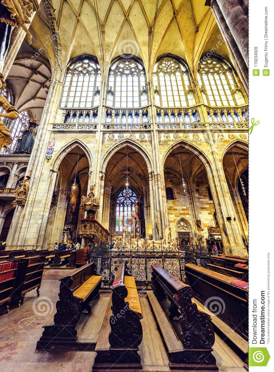 Gothic Architecture Interior Of St Vitus Cathedral Editorial Stock