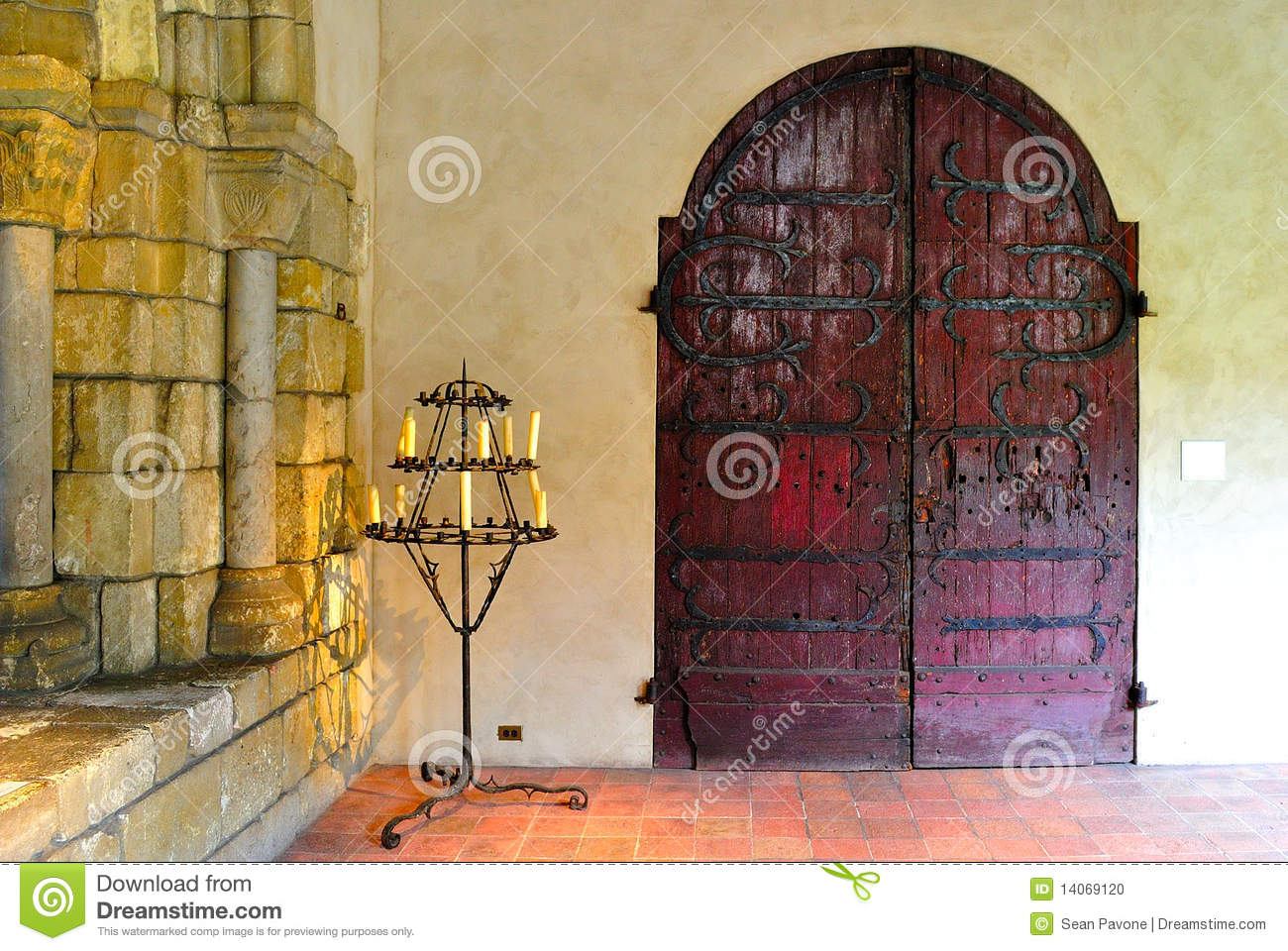 Download Gothic Castle Interior With Candelabra Stock Photo
