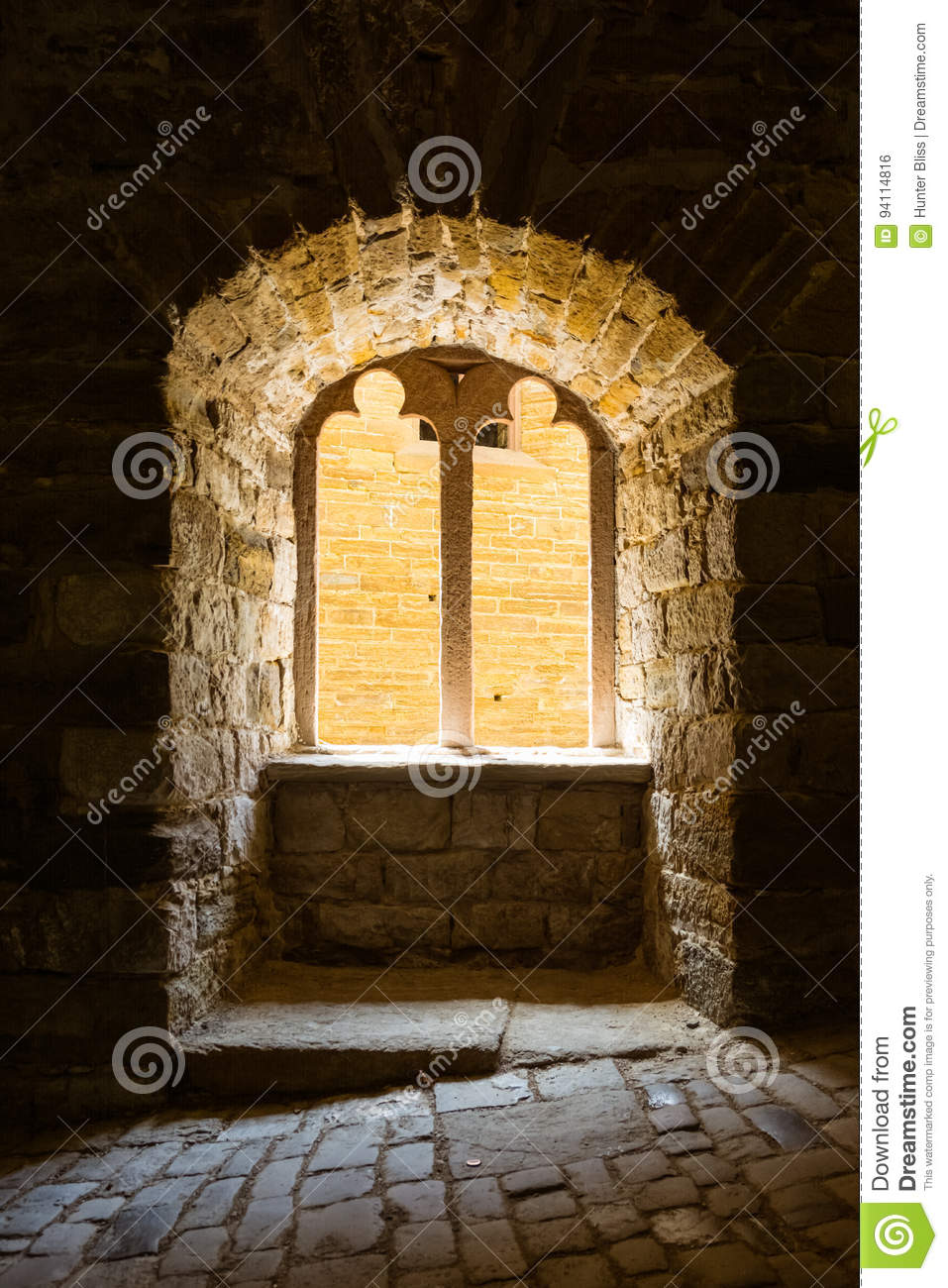 Gothic Castle Window Sunlight Pouring in Dark Contrast Architect
