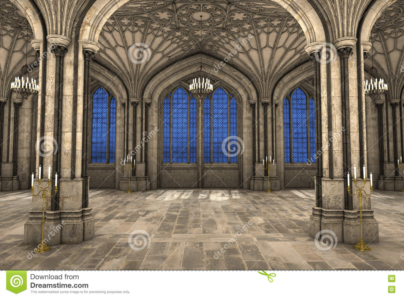 Gothic Cathedral Interior 3d Illustration Symmetrical View Of CG Royalty
