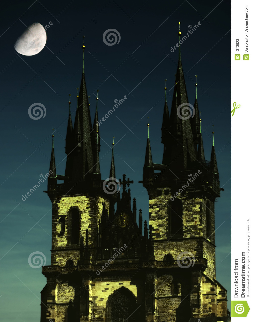 Gothic church with moon