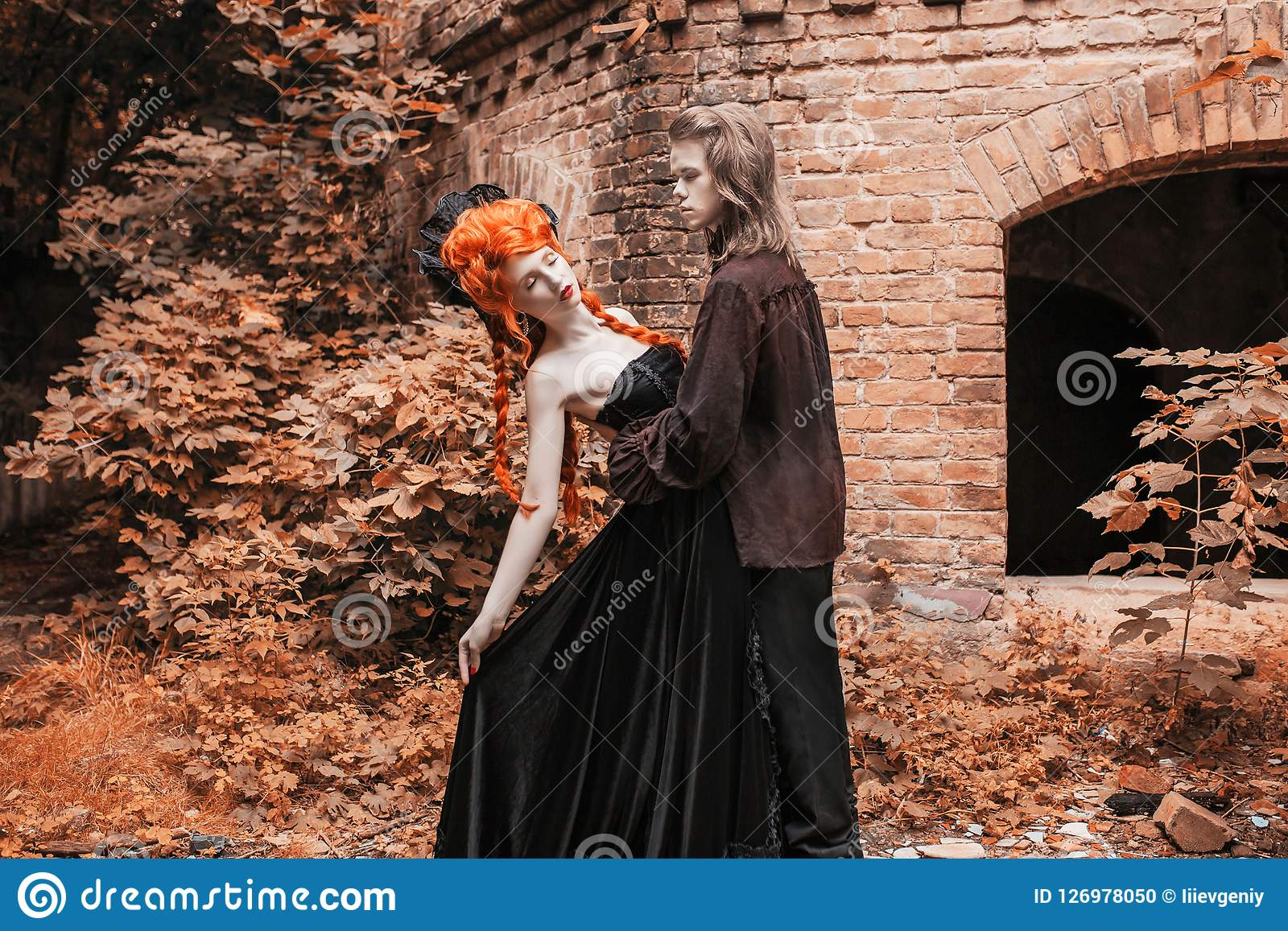 Gothic Couple In Halloween Costume Punk Vampire In Victorian