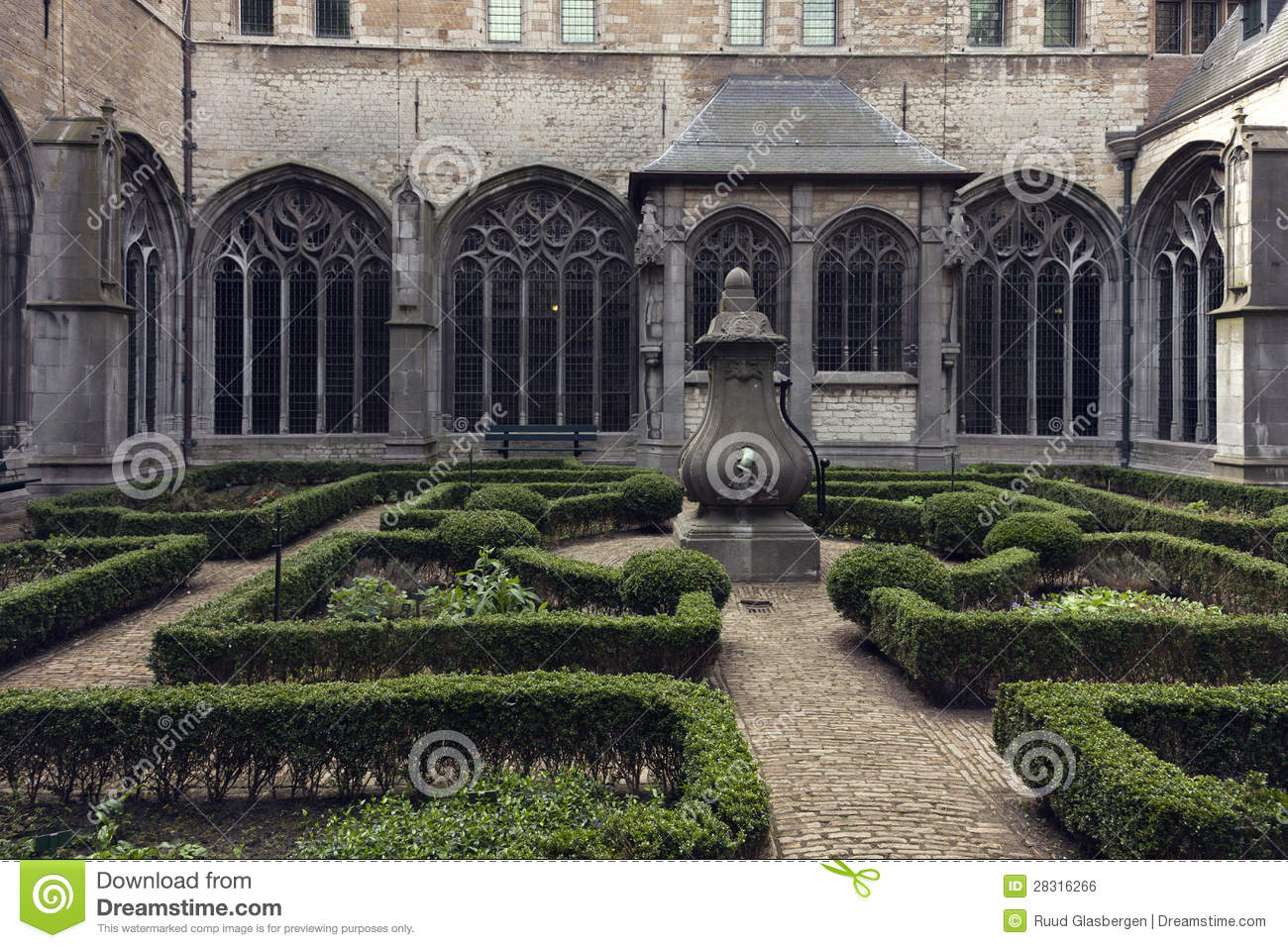 Gothic Courtyard Monumental Cathedral Royalty Free Stock