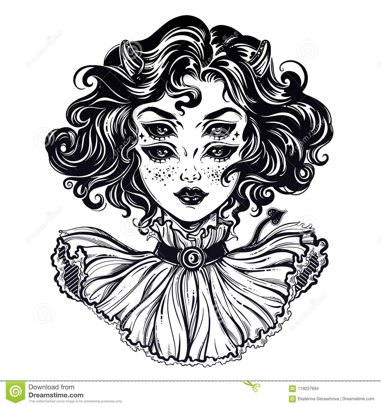 Gothic devil imp like witch girl head portrait with curly