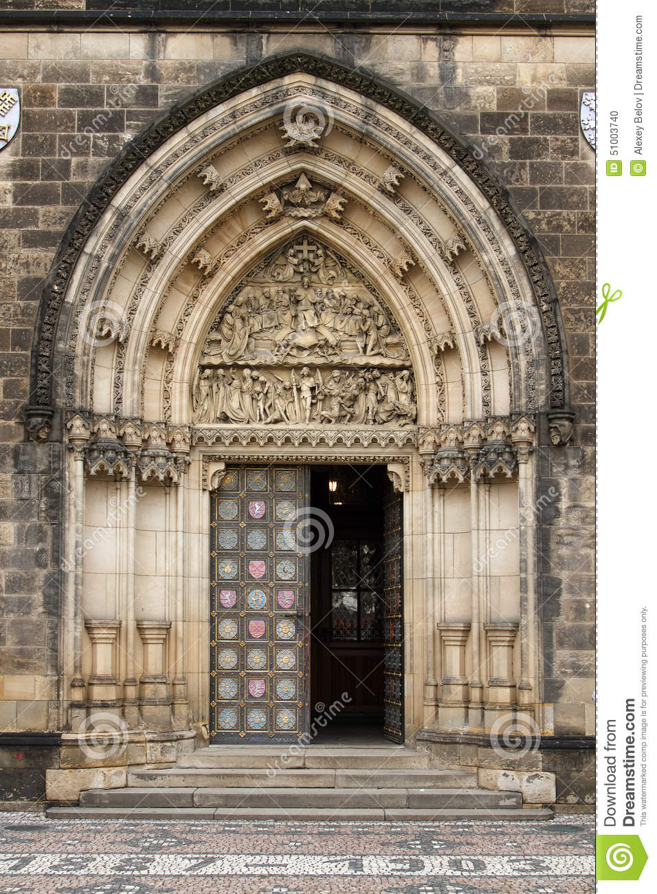 Gothic entrance portal of the visegrad cathedral in prague for Door z prague