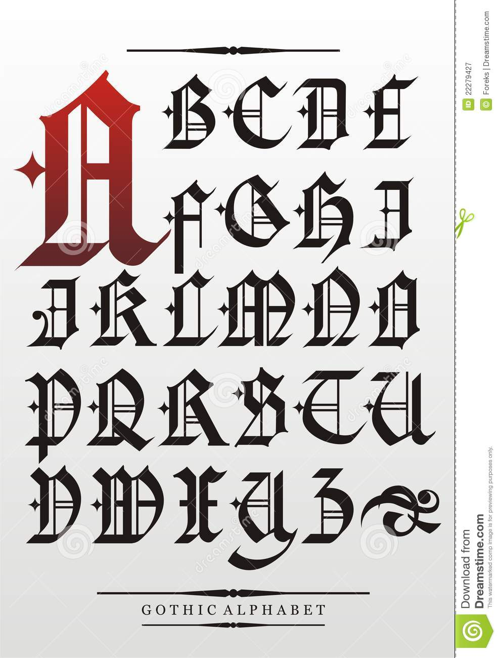 Gothic Font Alphabet Stock Vector Illustration Of Text