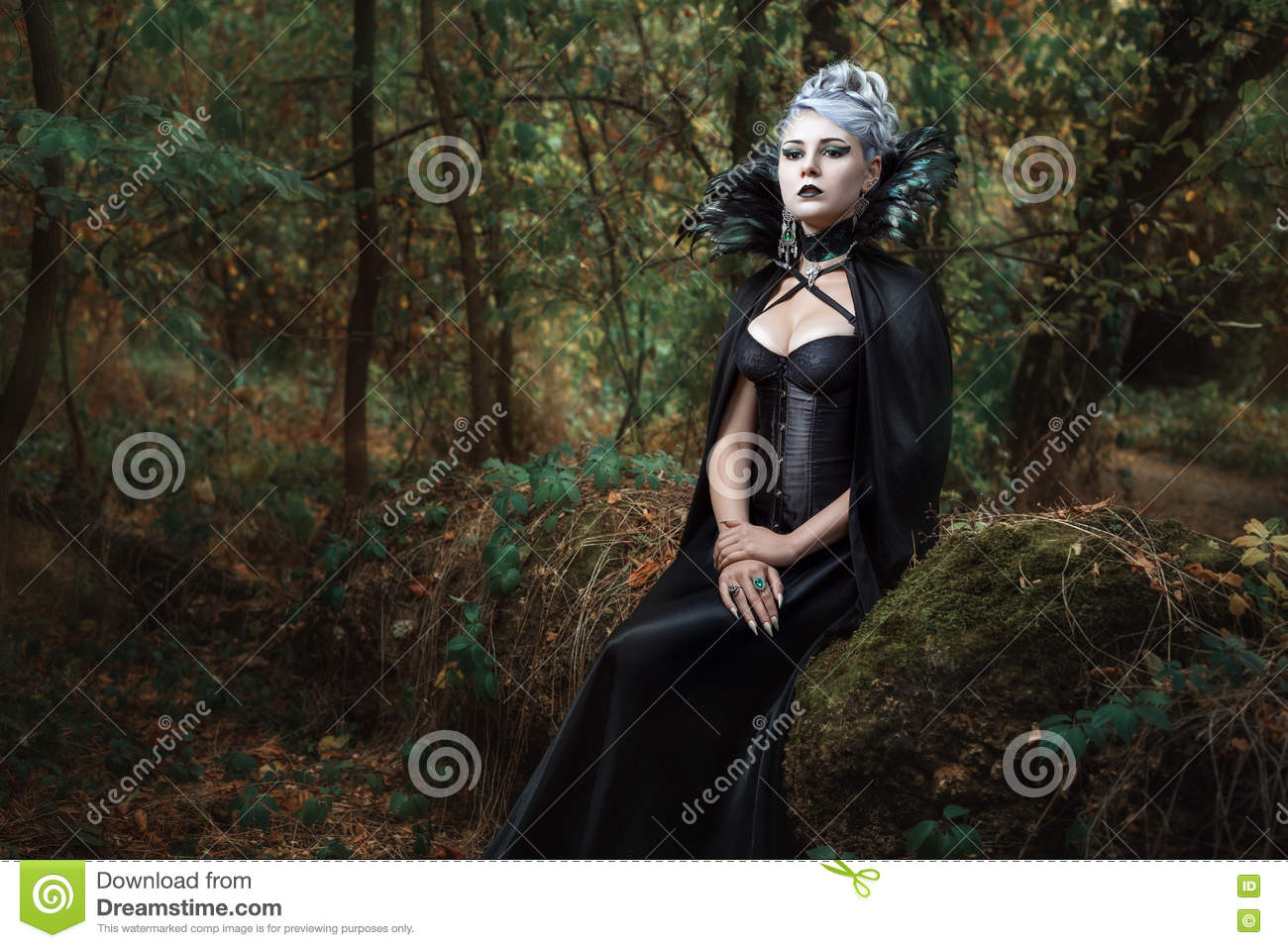 Gothic girl in the forest.