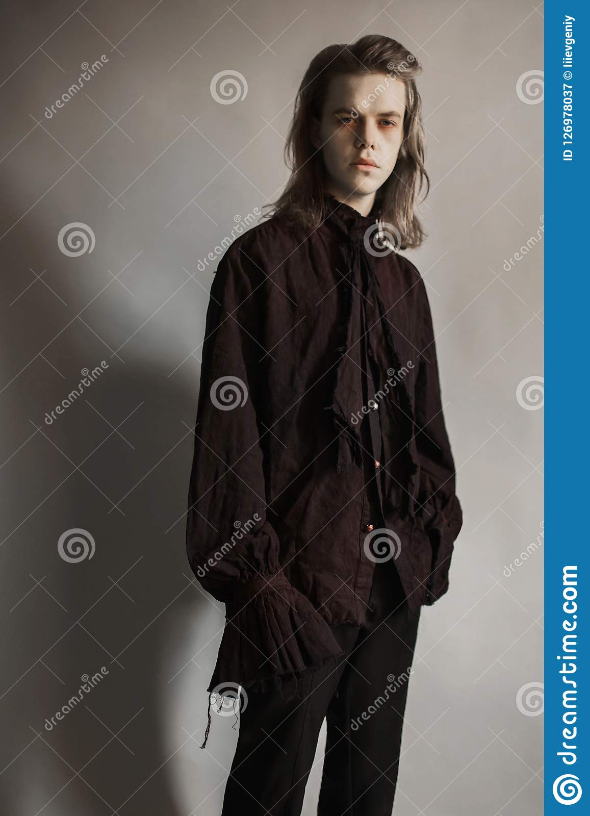 Gothic Halloween Clothes Mystical Knight Prince With Hairstyle Punk With Long Hair Vampire Man With Hairdo Mystical Outfit Fo Stock Image Image Of Gothic Fashion 126978037