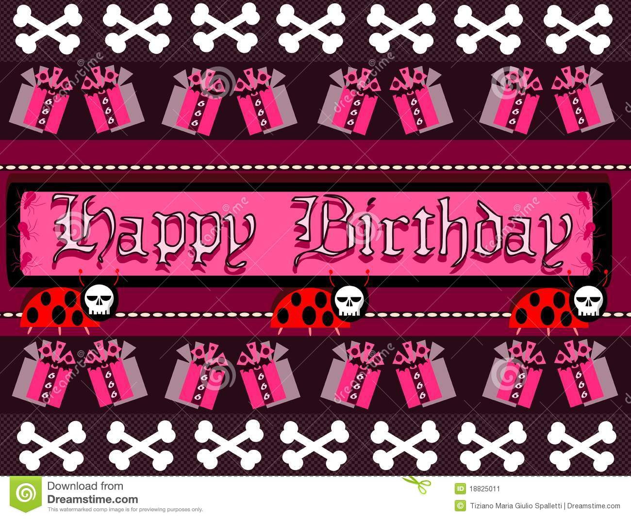 Gothic Happy Birthday Greeting Card Stock Image Illustration Of