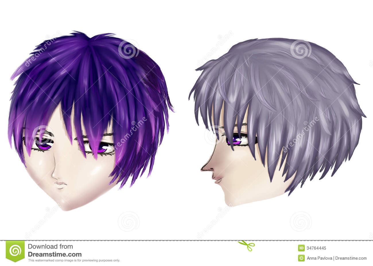 Gothic Male Haircuts Stock Illustration Illustration Of Expressive