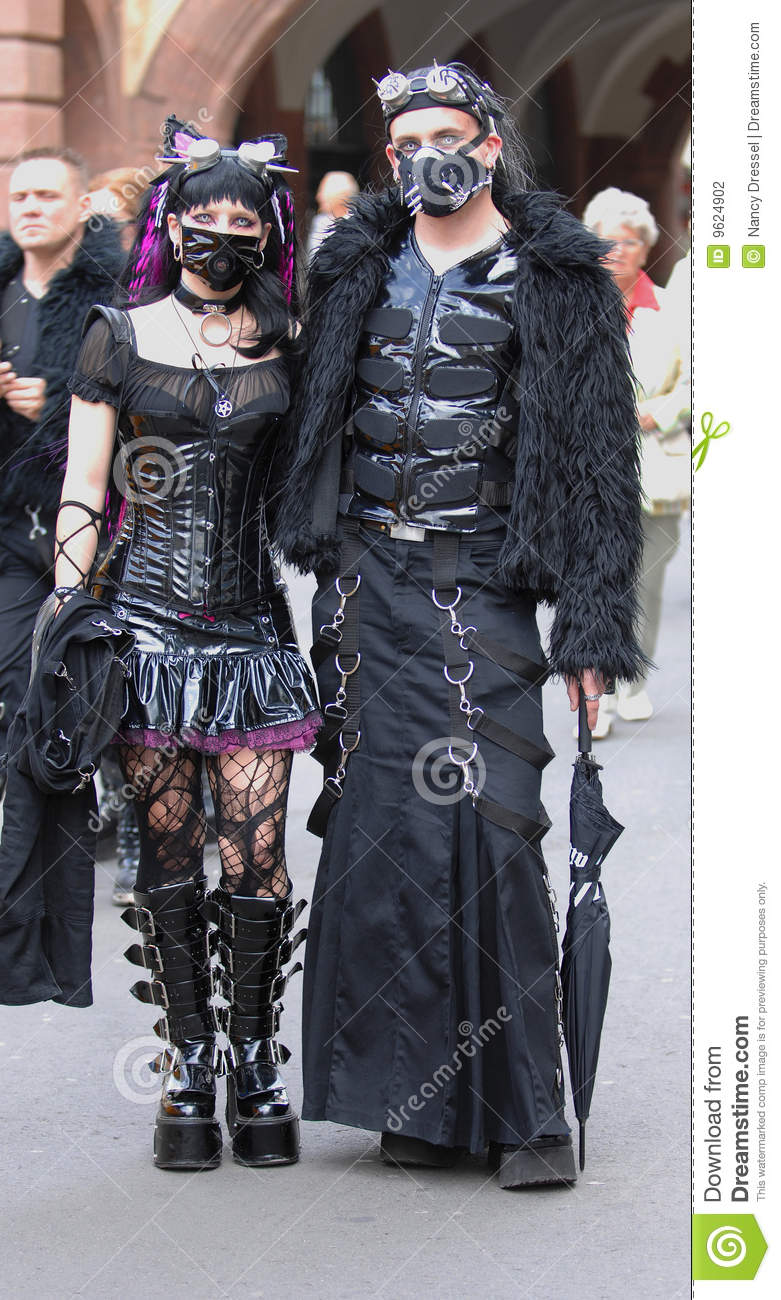 gothic pair with dracula eyes at goth festival2009 editorial
