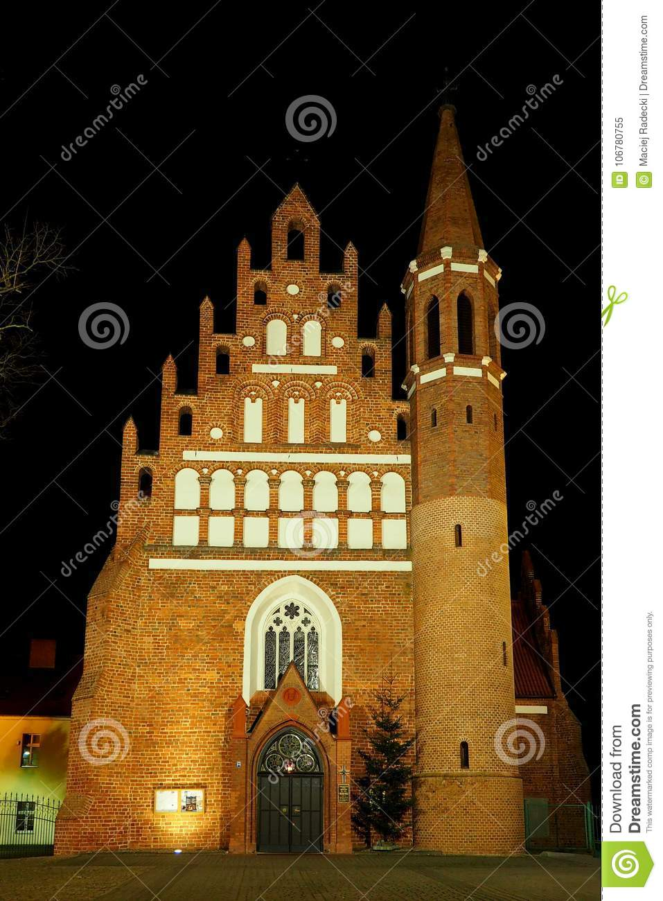 Gothic Red Brick Church By Night Stock Image