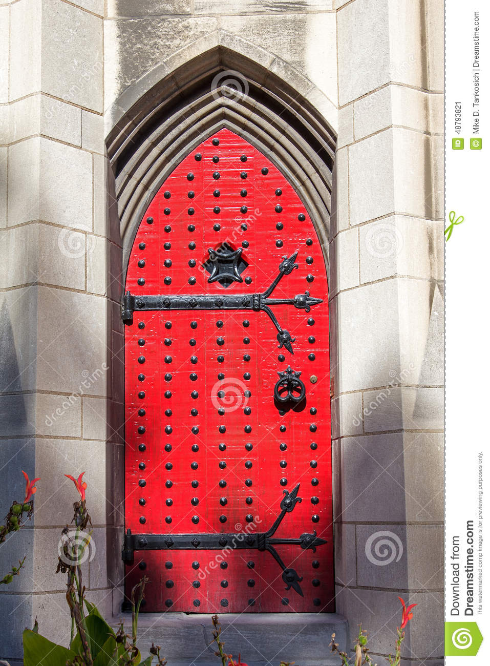 Gothic Red Door Stock Image Image Of Deco Gothic Cathedral 48793821