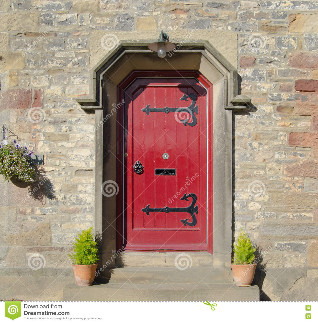 Gothic Red Front Door Stock Image. Image Of Front