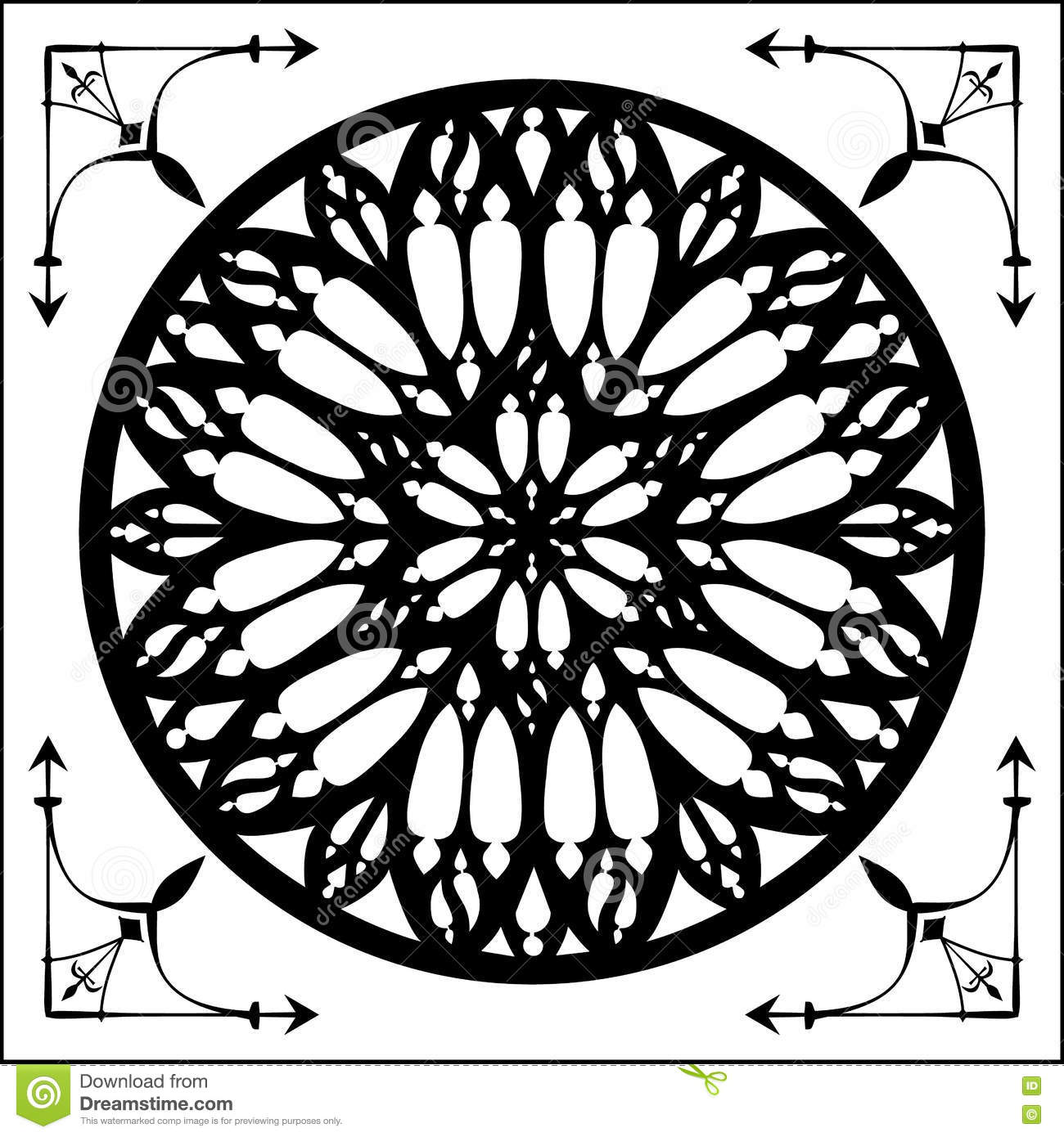 Gothic Rose Architecture Element Glass Stained Window