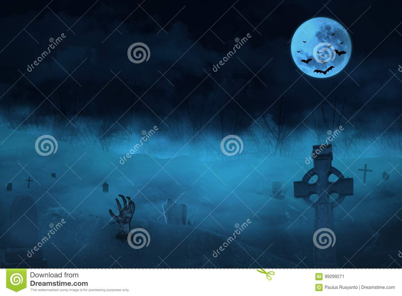 Gothic Scene With Zombies And Tomb Stock Illustration