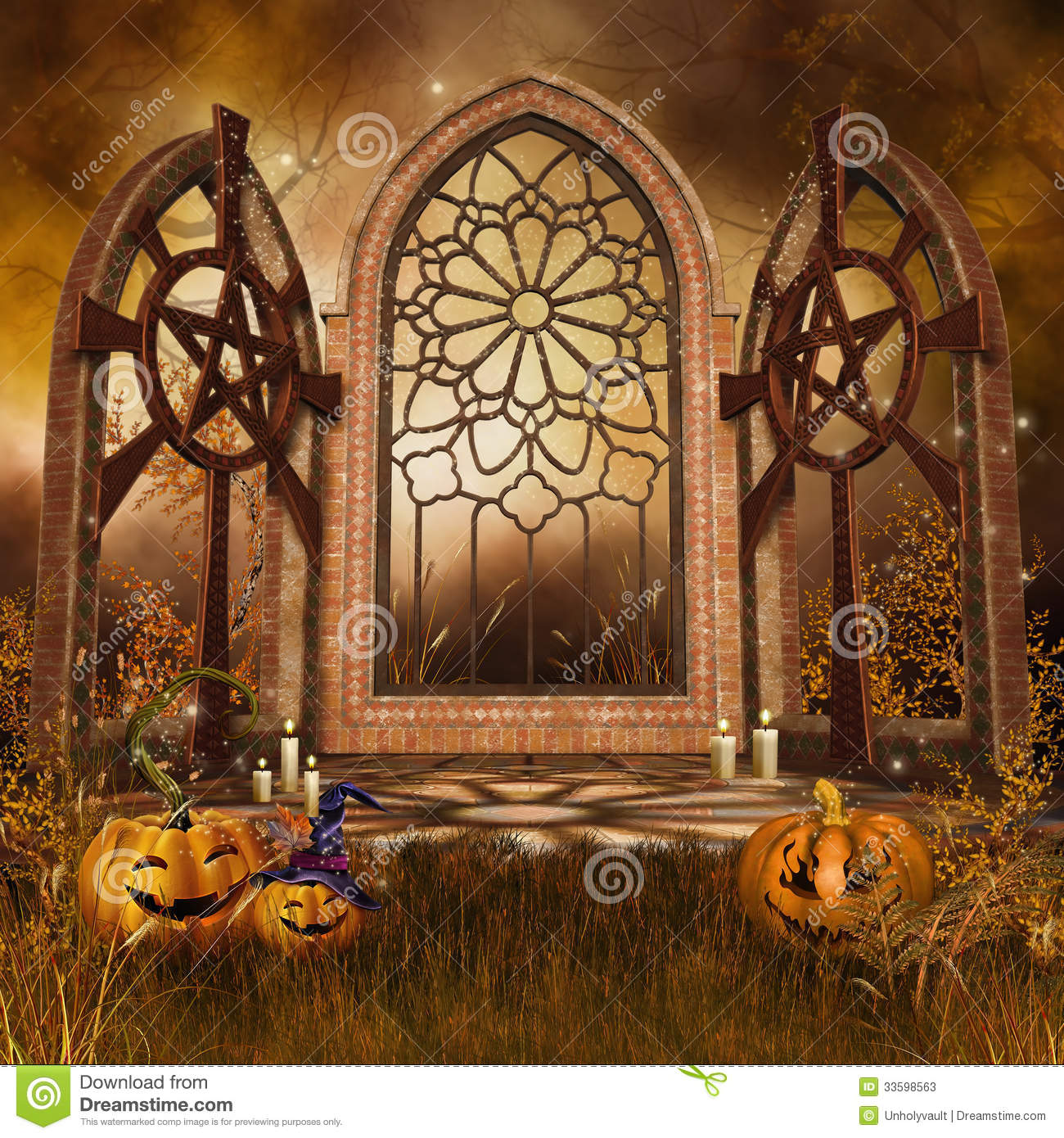 Gothic Shrine With Pumpkins Stock Photos Image 33598563
