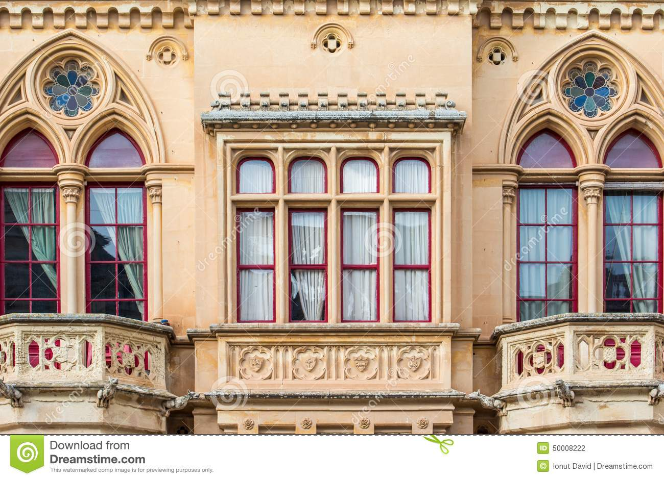 Gothic Style Building Mdina Malta Stock Photo