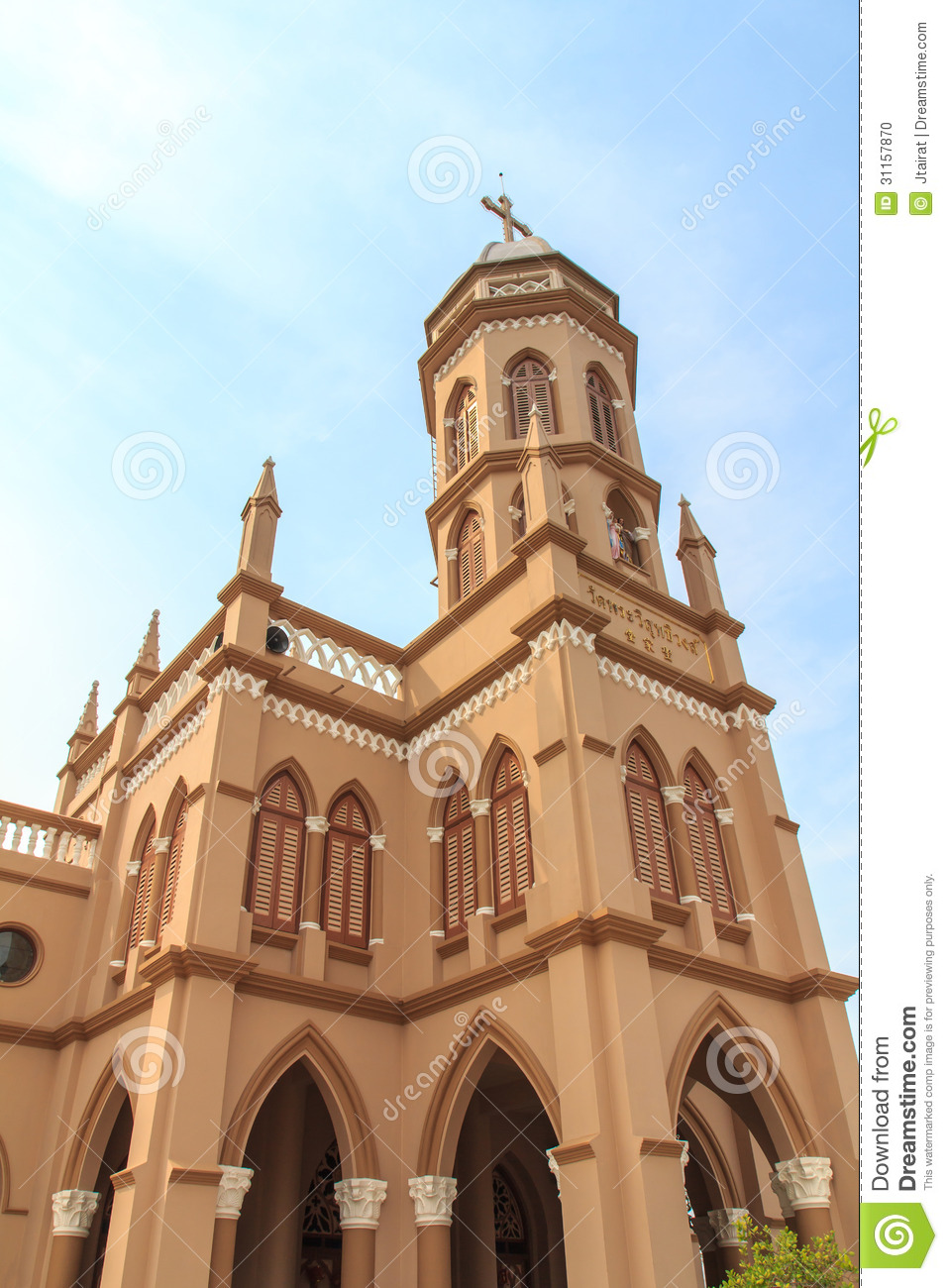 Gothic Style Church In Bangkok Thailand Stock Photo