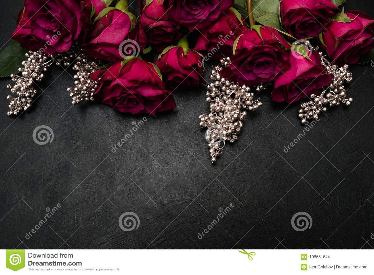 Gothic Wedding Flowers Burgundy Roses Arrangement Stock Photo