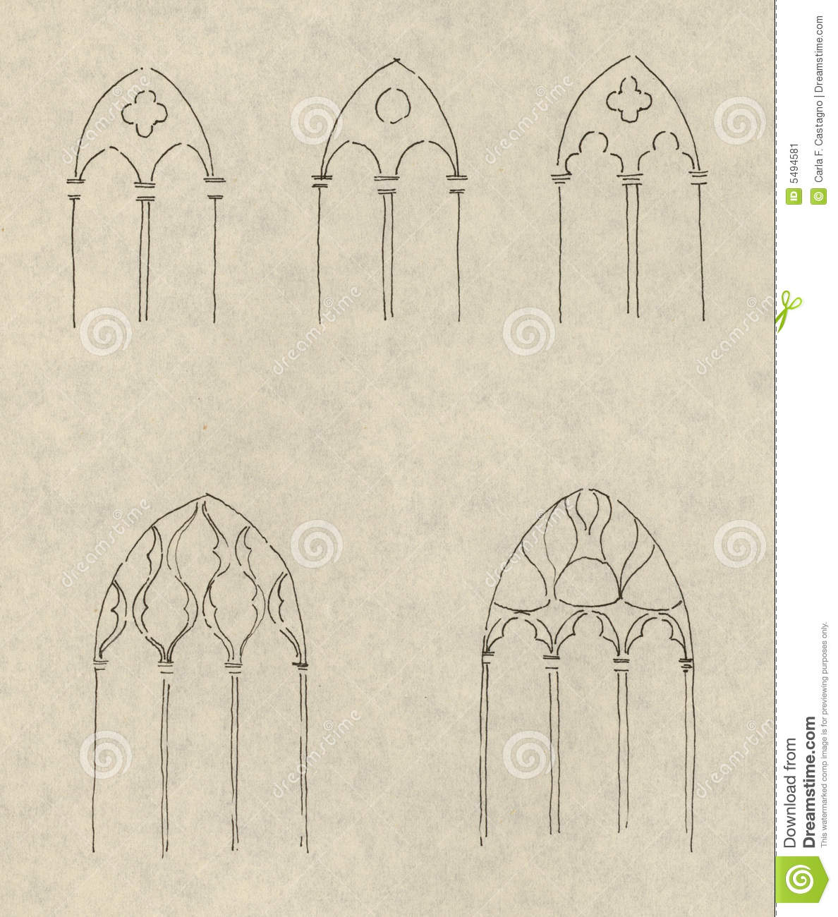 Gothic window drawings stock image image 5494581 for Window design sketch
