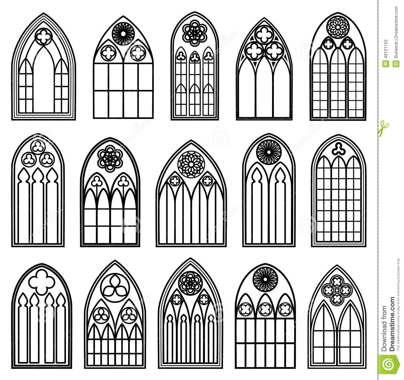 Set Of Design Gothic Window Frames Black Silhouettes On The White Background
