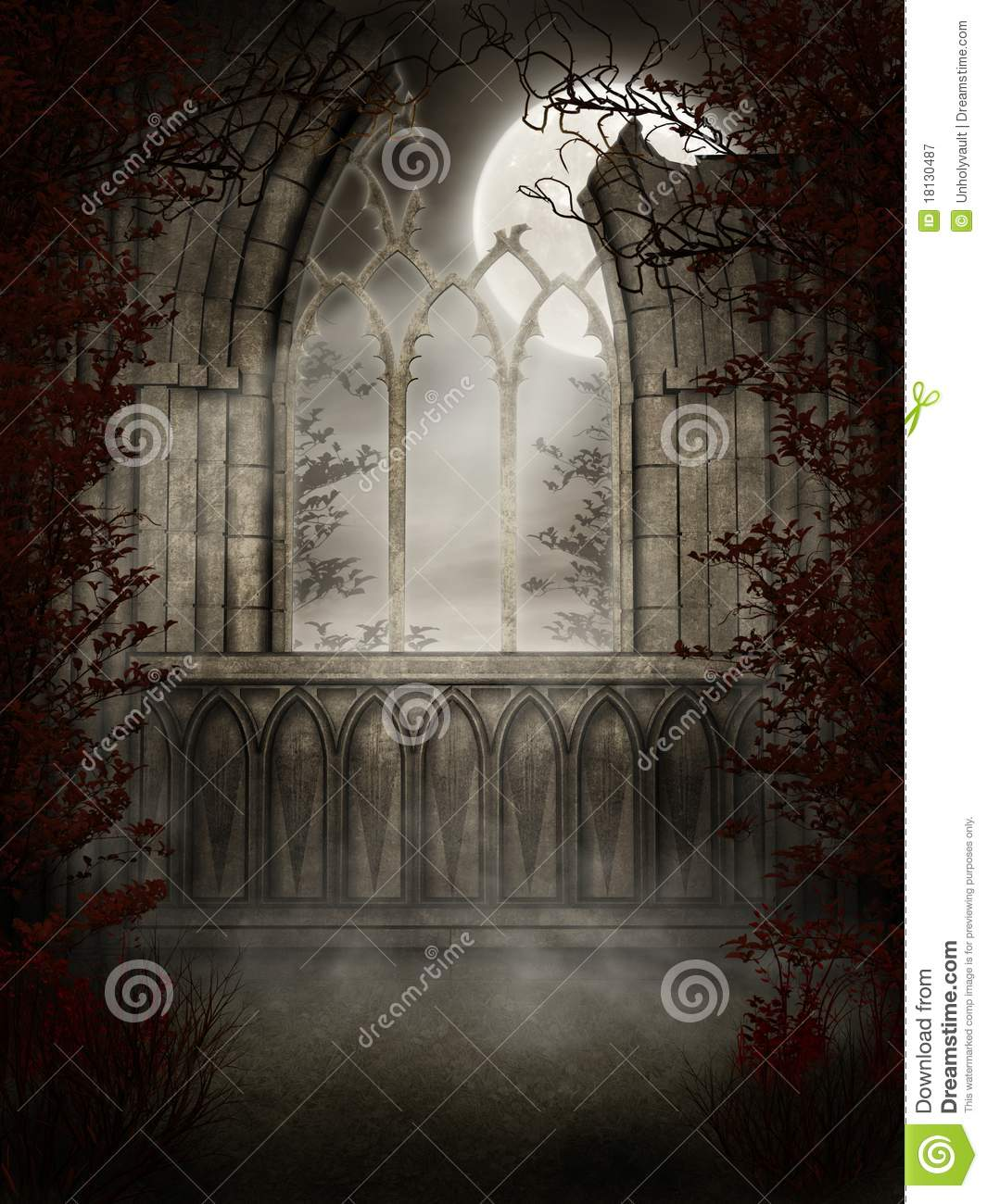 Gothic window with thorns