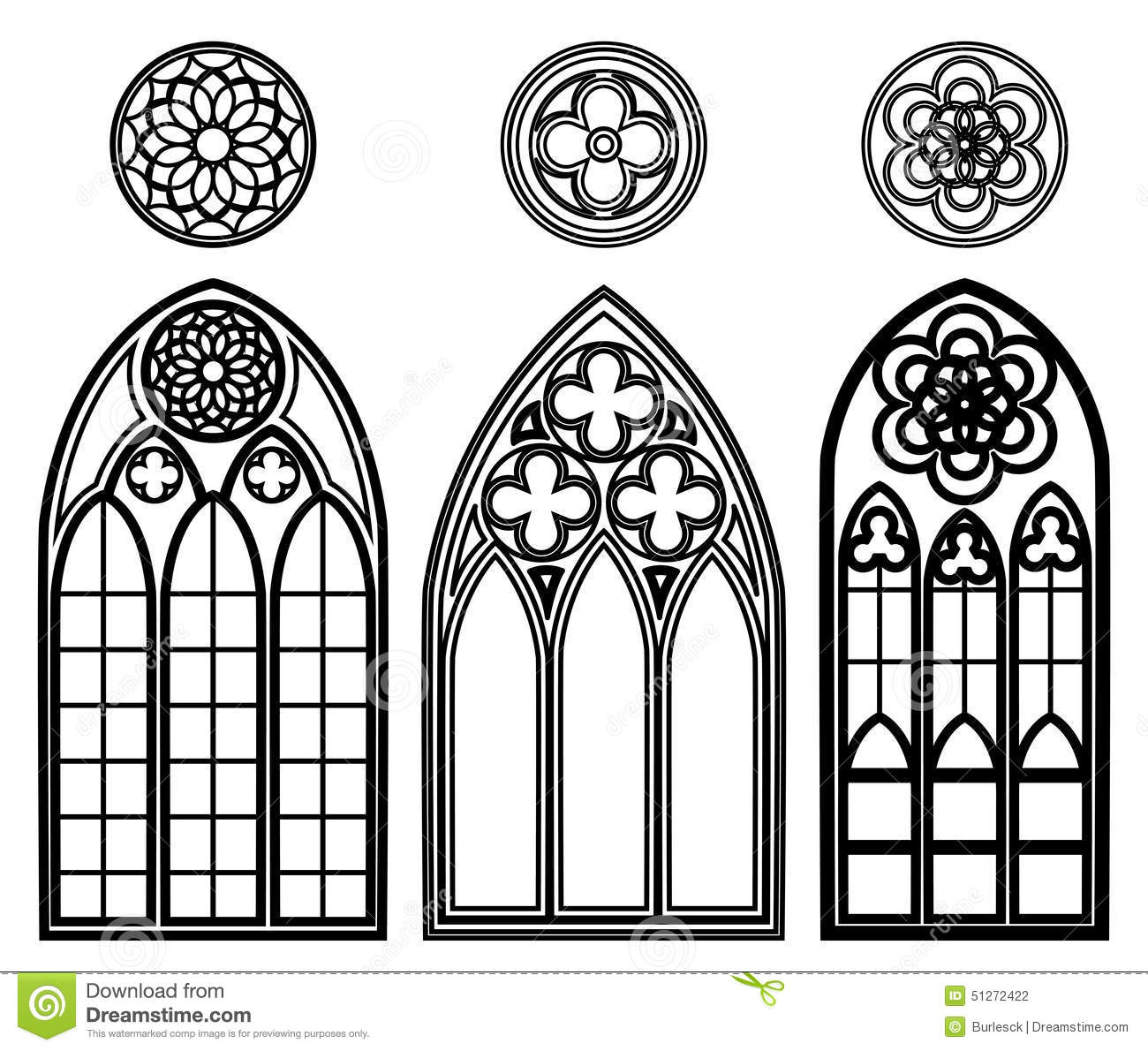 Gothic windows of cathedrals stock vector illustration for Gothic design elements