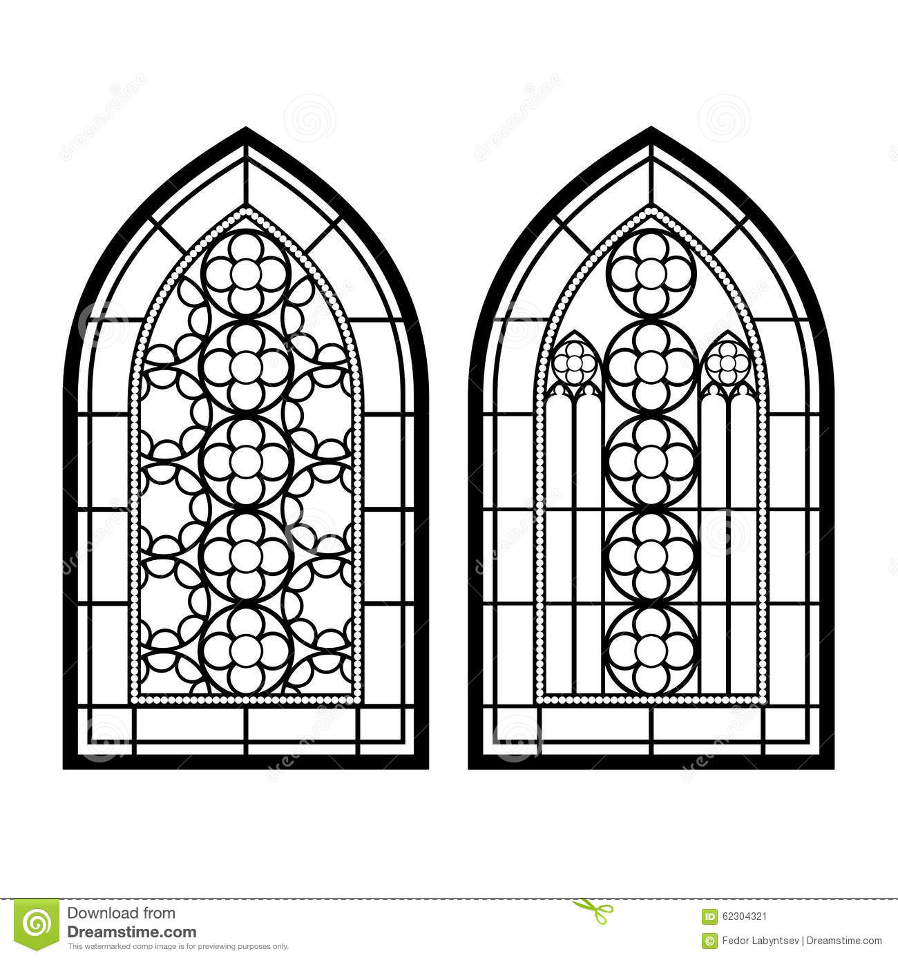 Gothic Windows Vintage Frames Church Stained Glass Stock