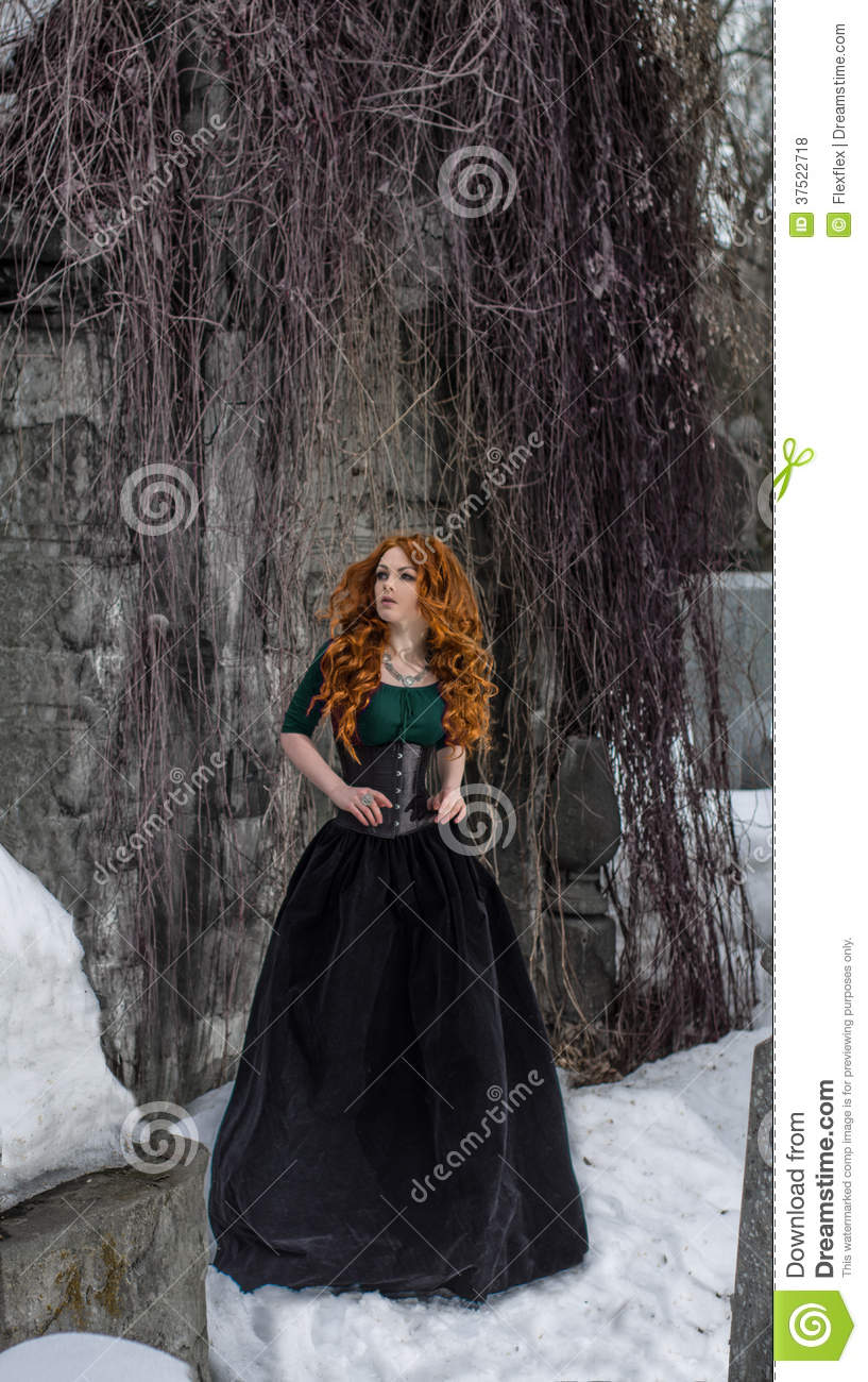 Gothic woman in black dress