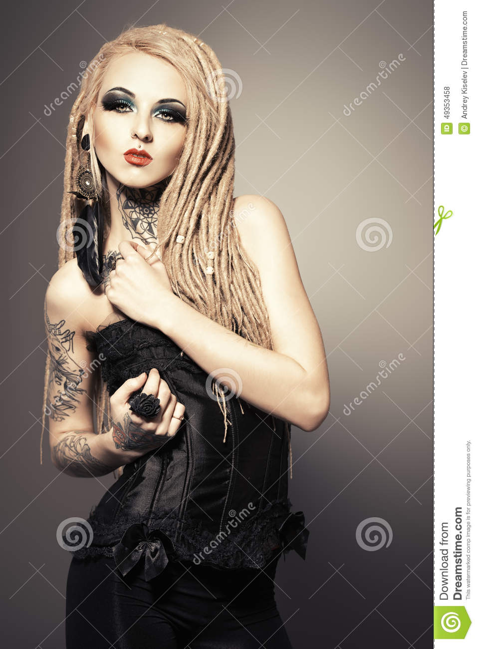Gothic woman stock photo image 49353458 Fashion style and make up