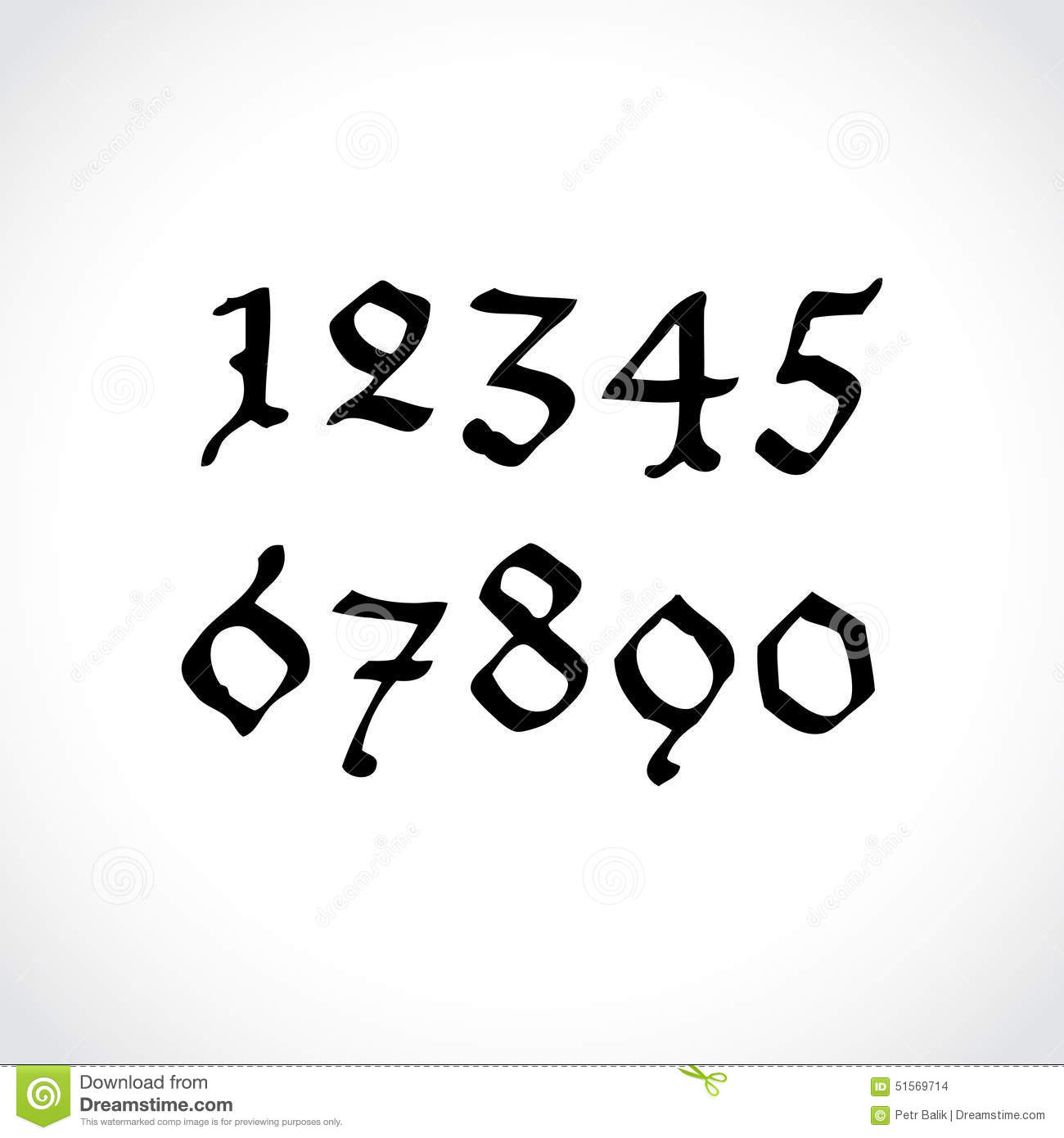 alphabet old handwritten letters and numbers cartoon