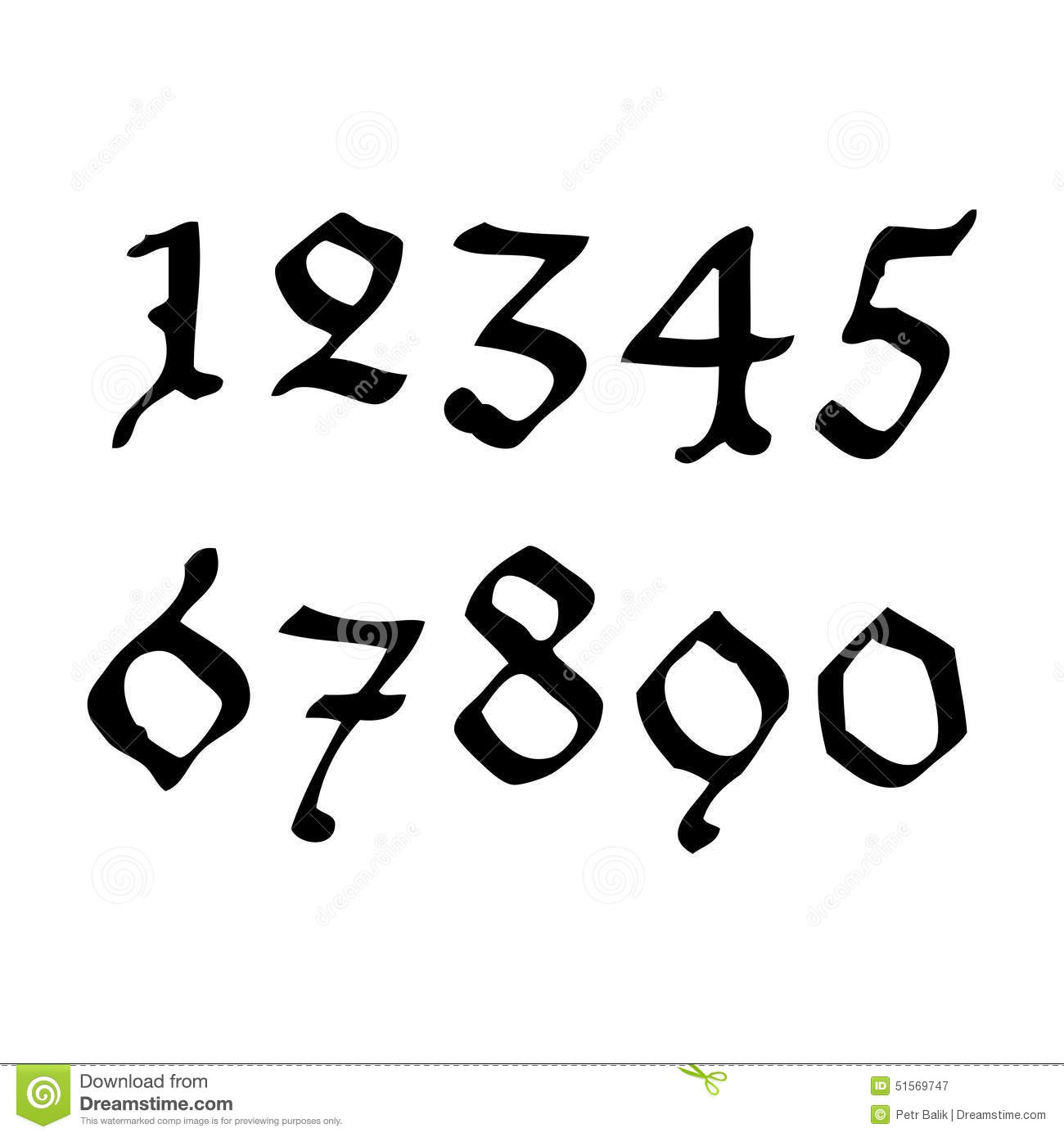 Gothical handwritten numbers