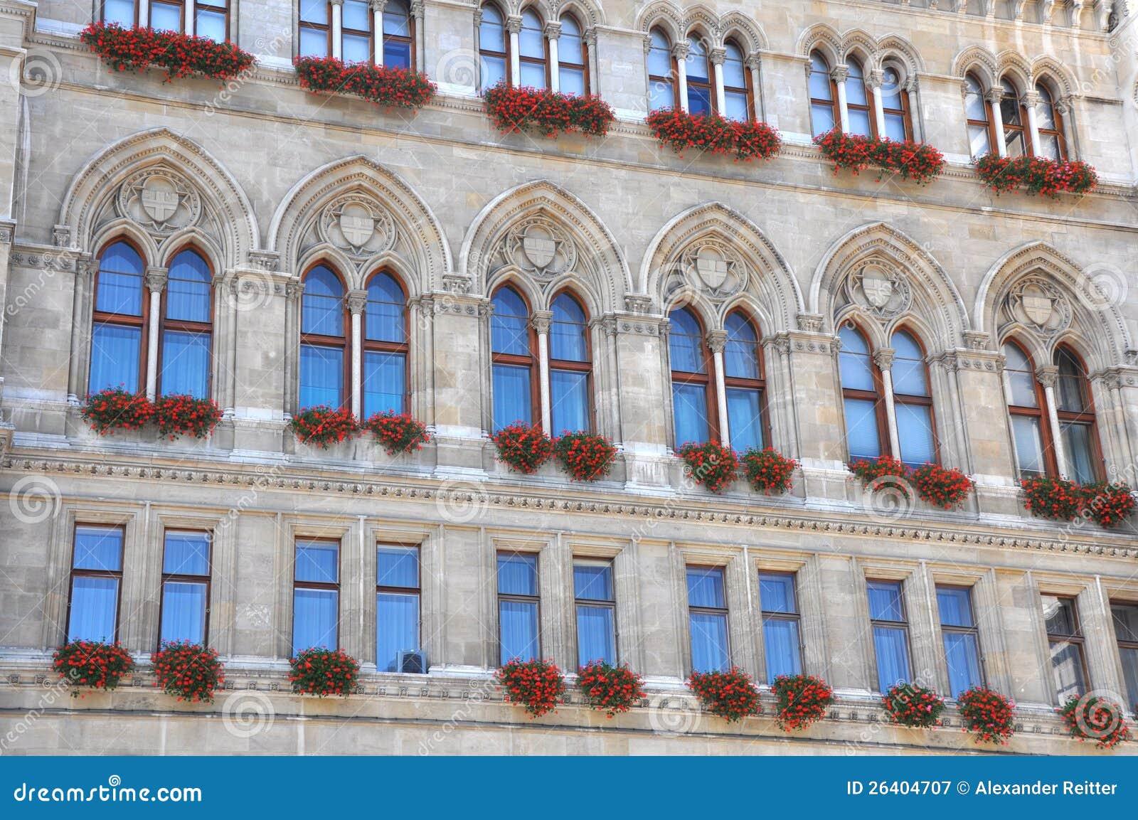 Gotische Fassade von Rathaus in Wien