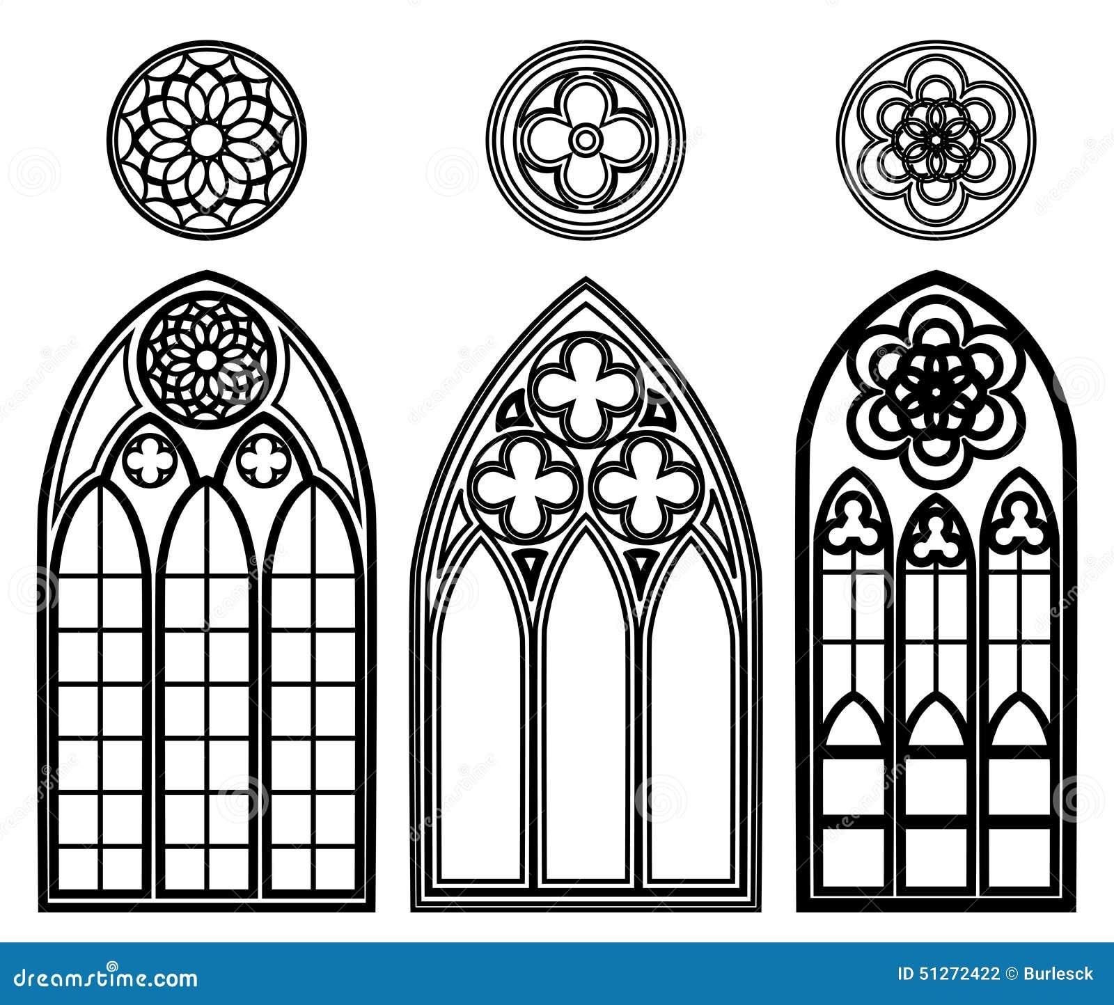 gotische fenster von kathedralen vektor abbildung bild 51272422. Black Bedroom Furniture Sets. Home Design Ideas