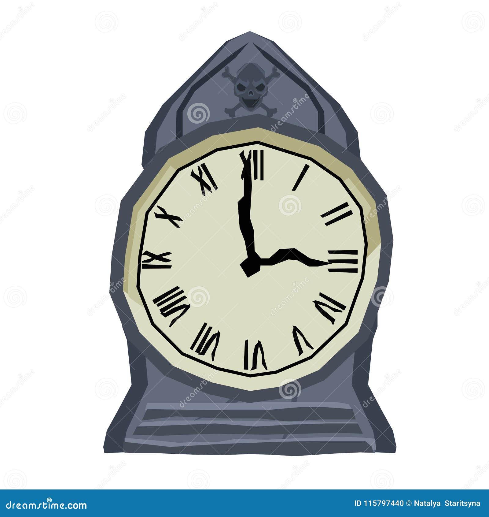 Gotische furchtsame Uhr mit dem Schädel auf weißem Hintergrund